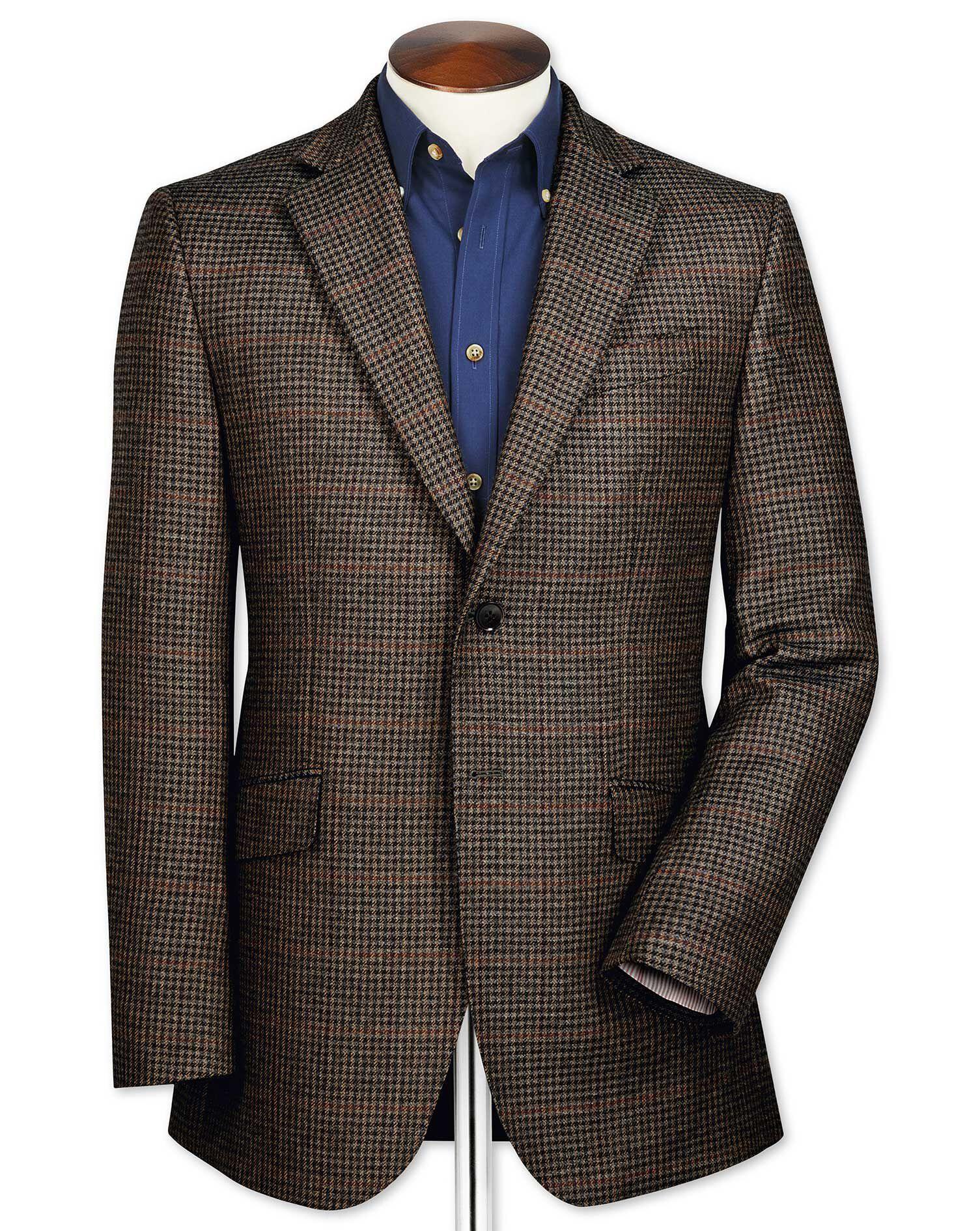 Classic Fit Brown Semi-Plain Lambswool Wool Jacket Size 46 Regular by Charles Tyrwhitt