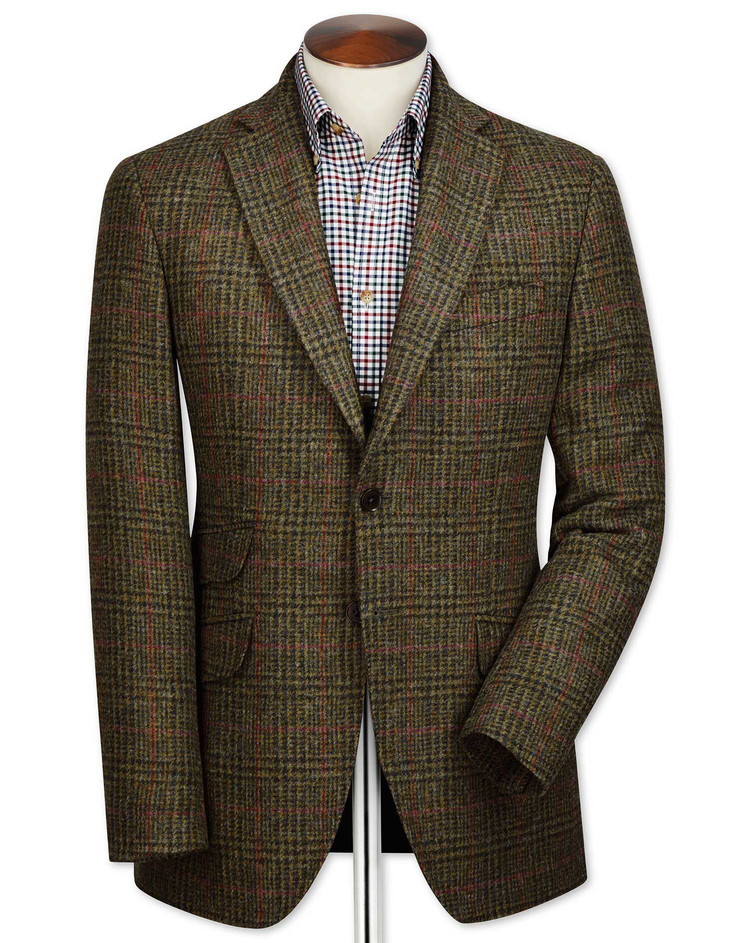 Slim Fit Green Checkered British Tweed Wool Jacket Size 36 Short by Charles Tyrwhitt