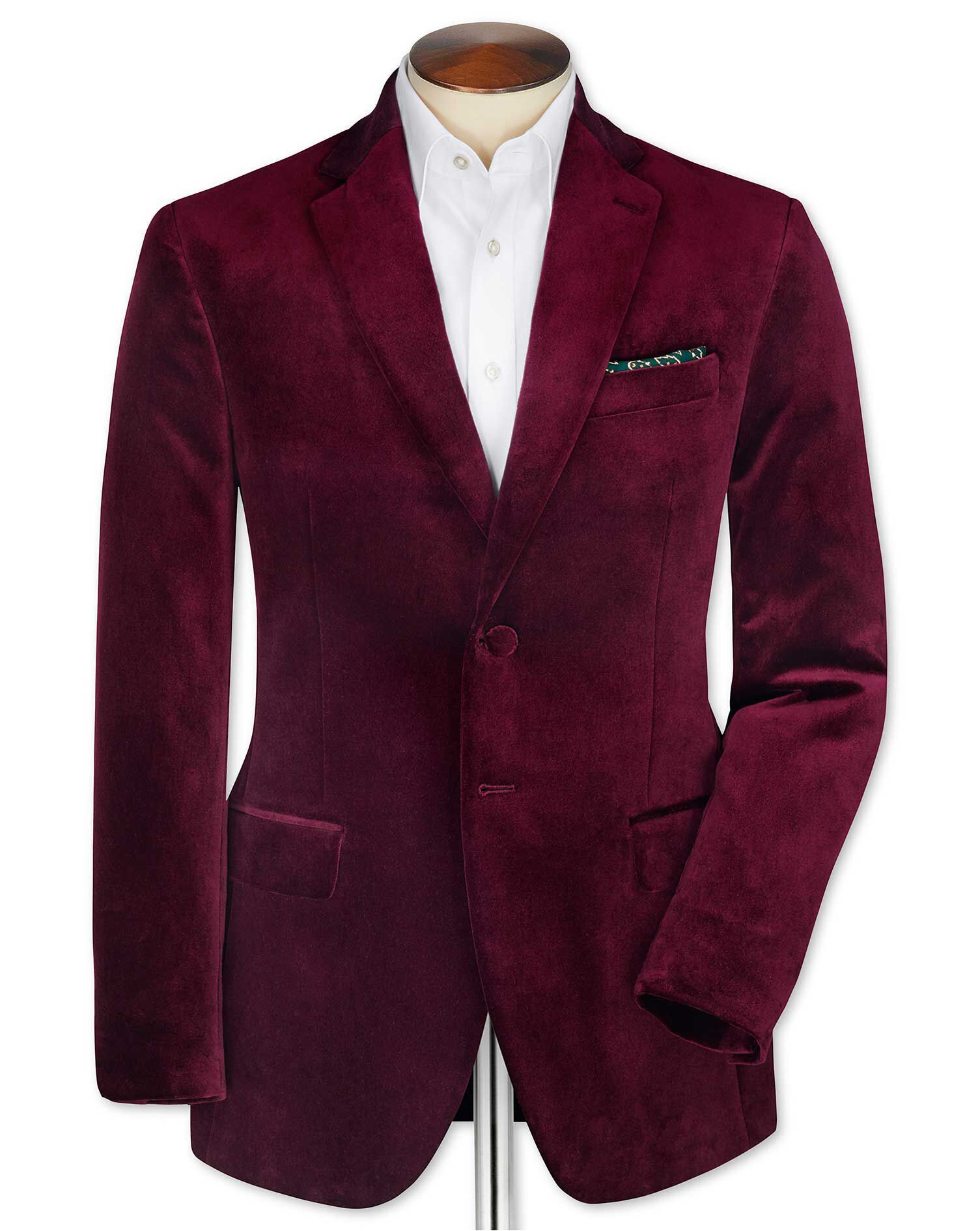 Slim Fit Burgundy Velvet Cotton Blazer Size 42 Long by Charles Tyrwhitt