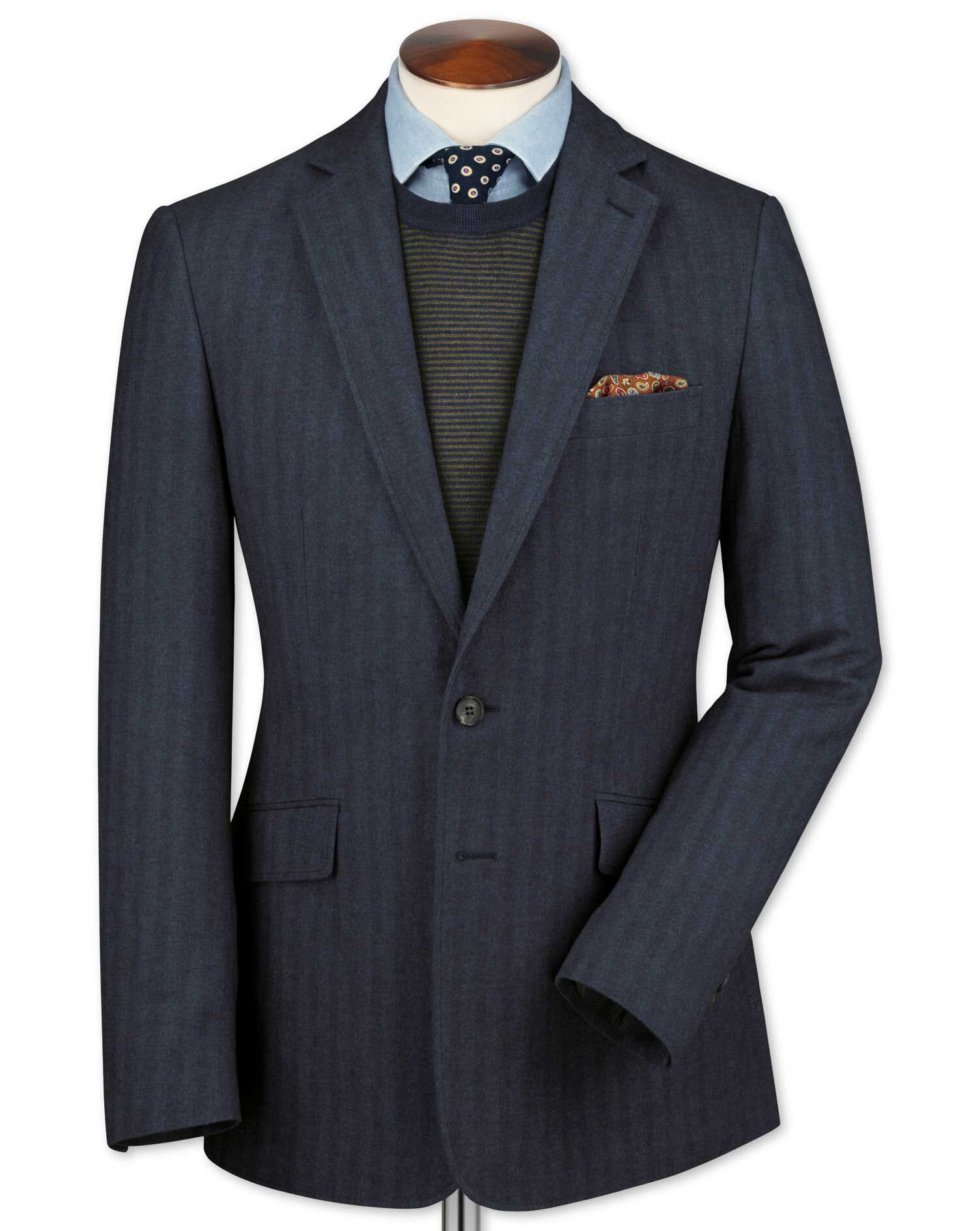 Slim Fit Airforce Blue Herringbone Cotton Flannel Cotton Jacket Size 44 Long by Charles Tyrwhitt