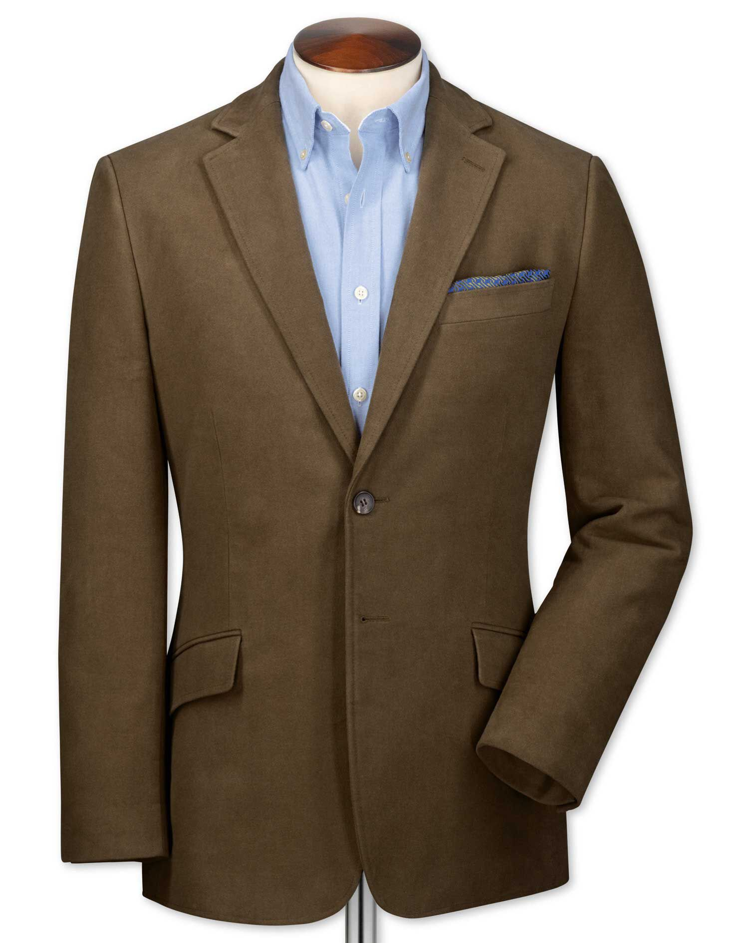 Slim Fit Camel Cotton Flannel Cotton Jacket Size 42 Long by Charles Tyrwhitt