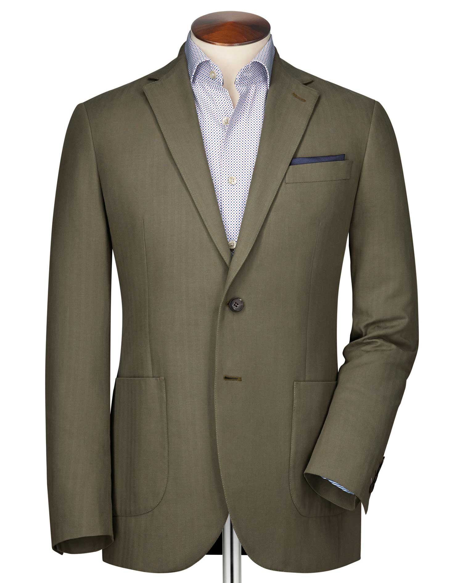 Slim Fit Khaki Herringbone Cotton Jacket Size 42 Long by Charles Tyrwhitt