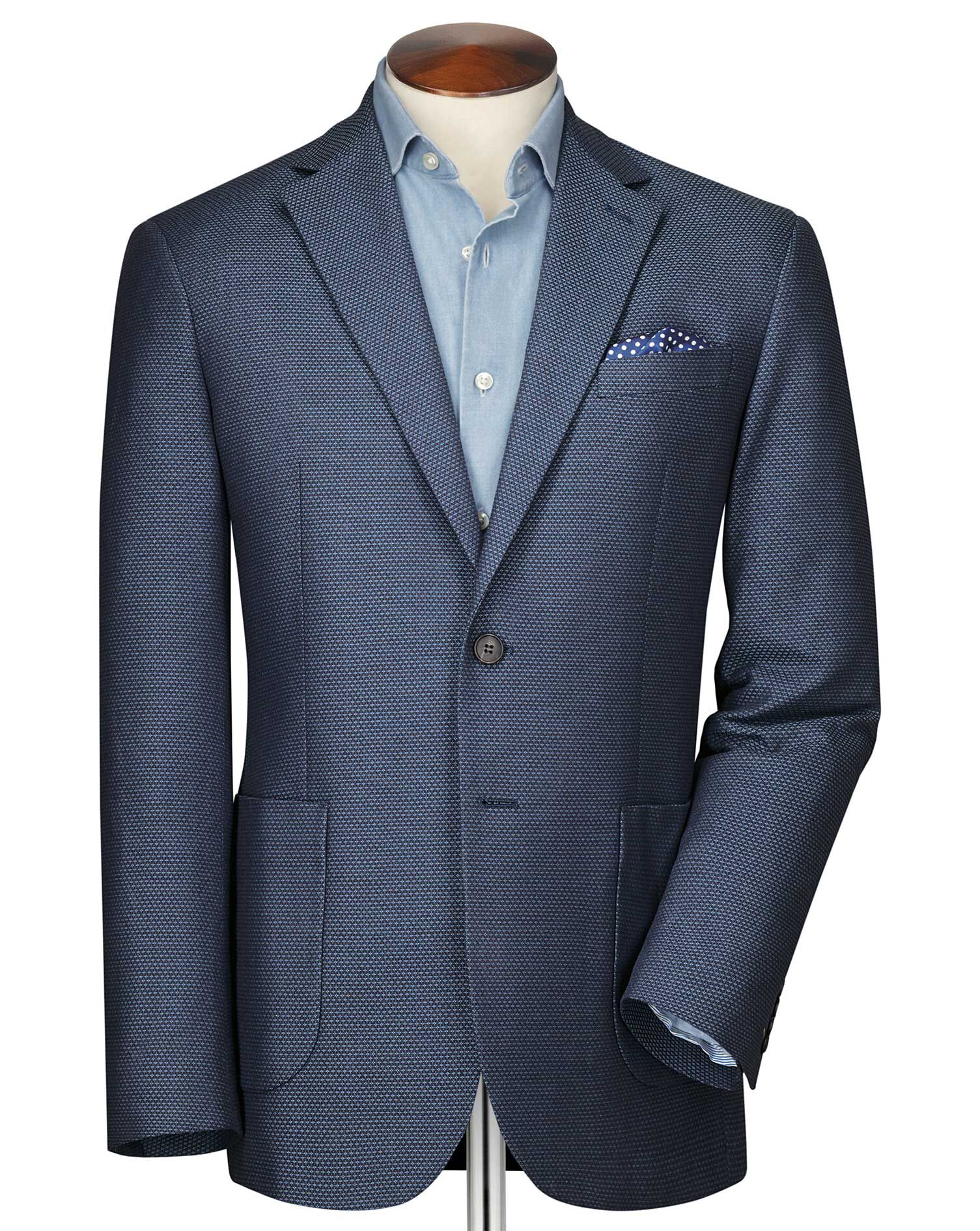 Classic Fit Blue and Sky Semi-Plain Cotton Jacket Size 38 by Charles Tyrwhitt
