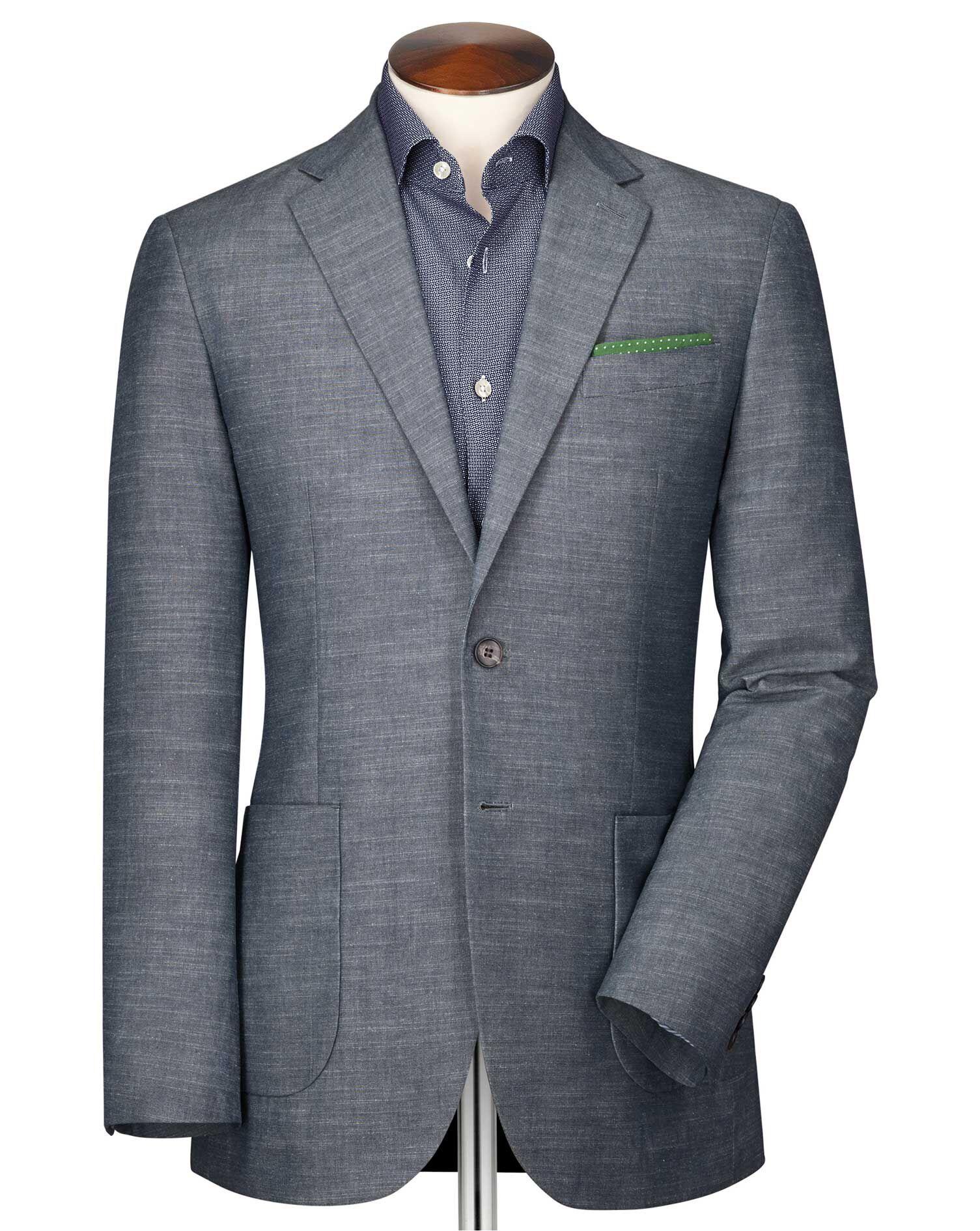 Slim Fit Chambray Semi-Plain Cotton Jacket Size 42 by Charles Tyrwhitt