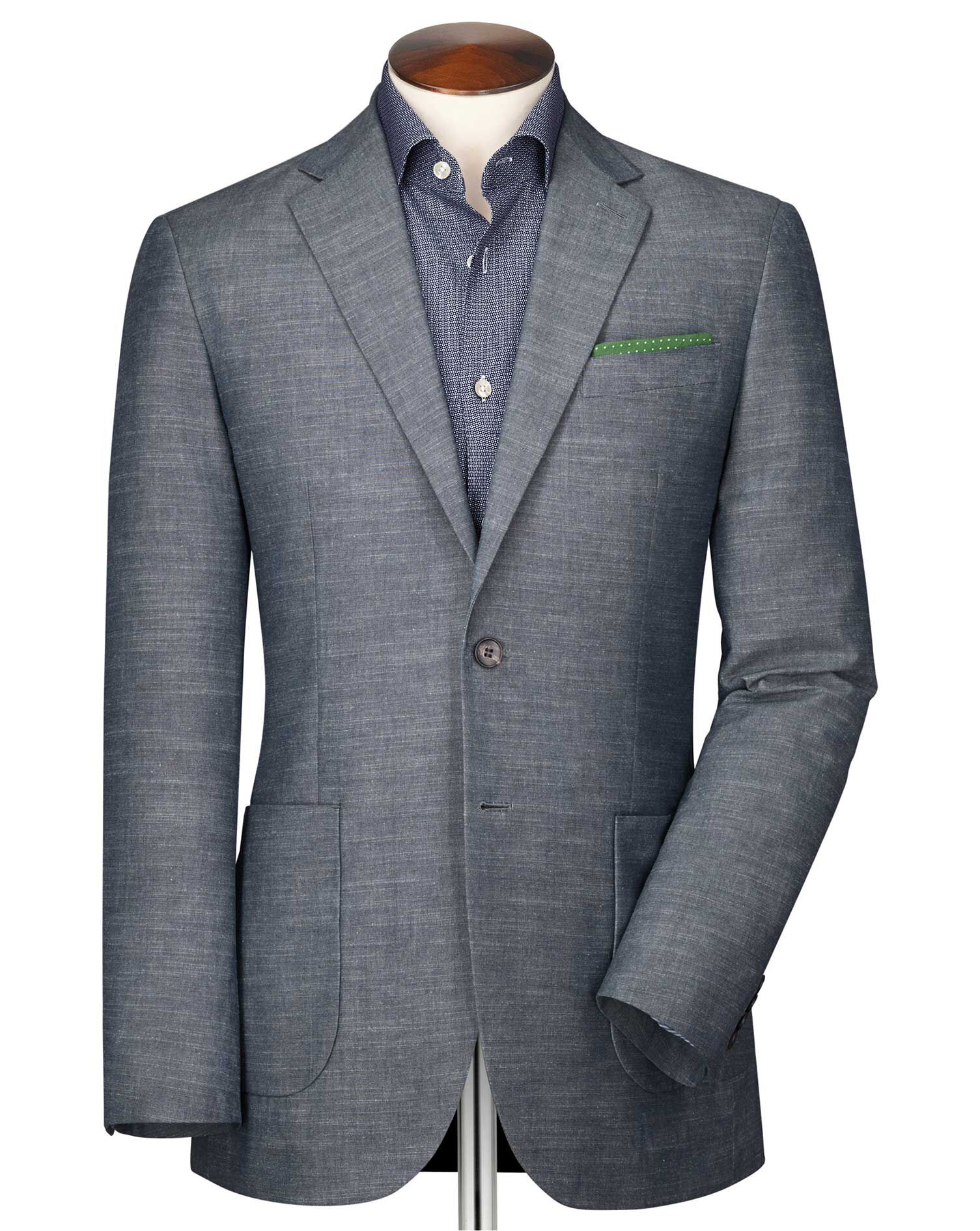 Classic Fit Chambray Semi-Plain Cotton Jacket Size 38 Long by Charles Tyrwhitt