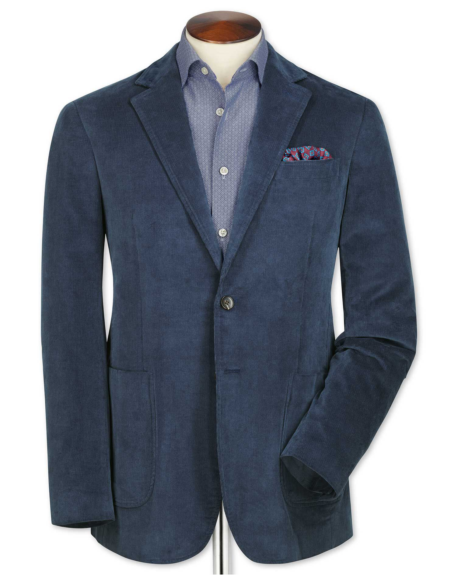 Slim Fit Blue Stretch Cord Cotton Jacket Size 42 Long by Charles Tyrwhitt