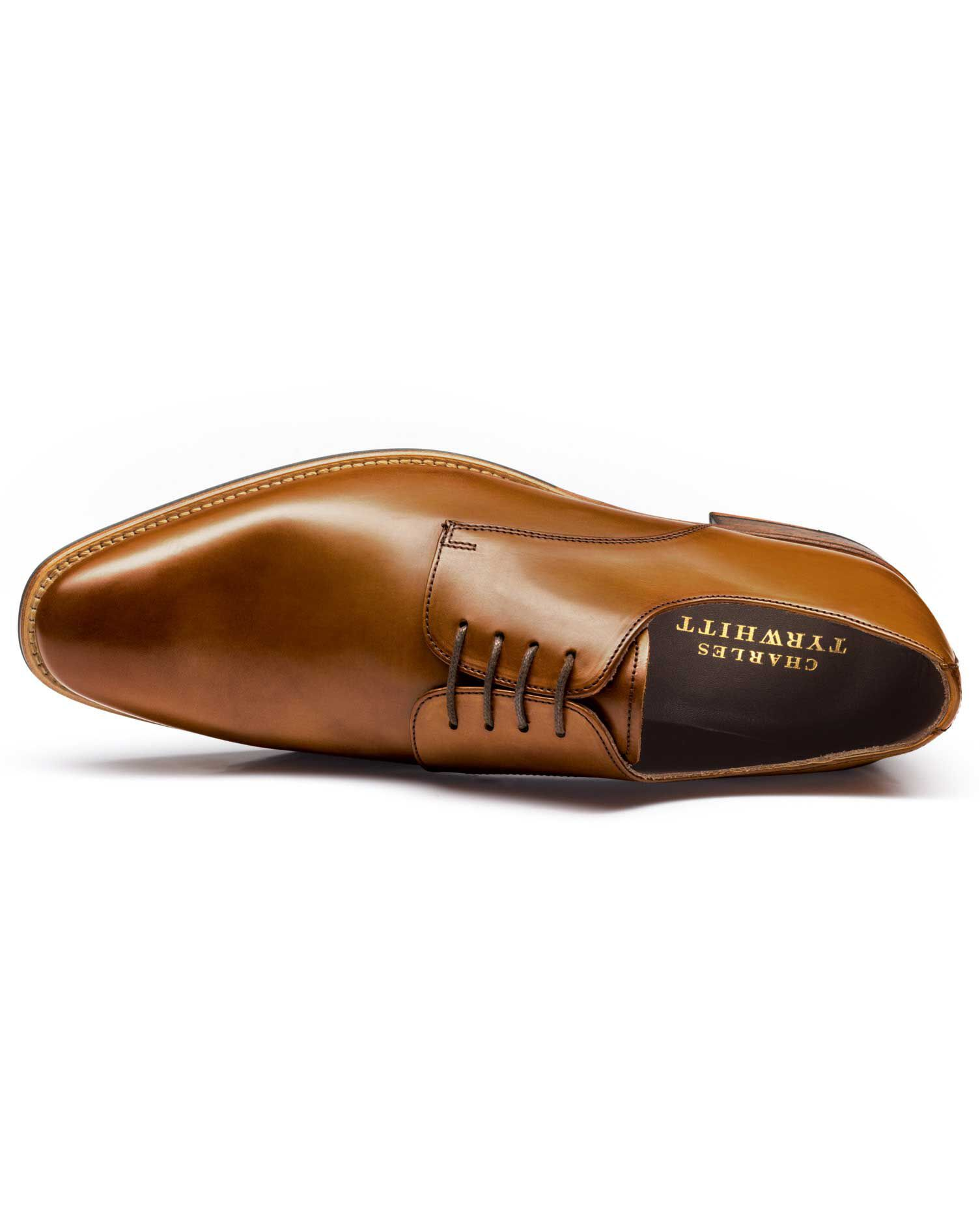 Tan Grosvenor Derby Shoes Size 9.5 by Charles Tyrwhitt