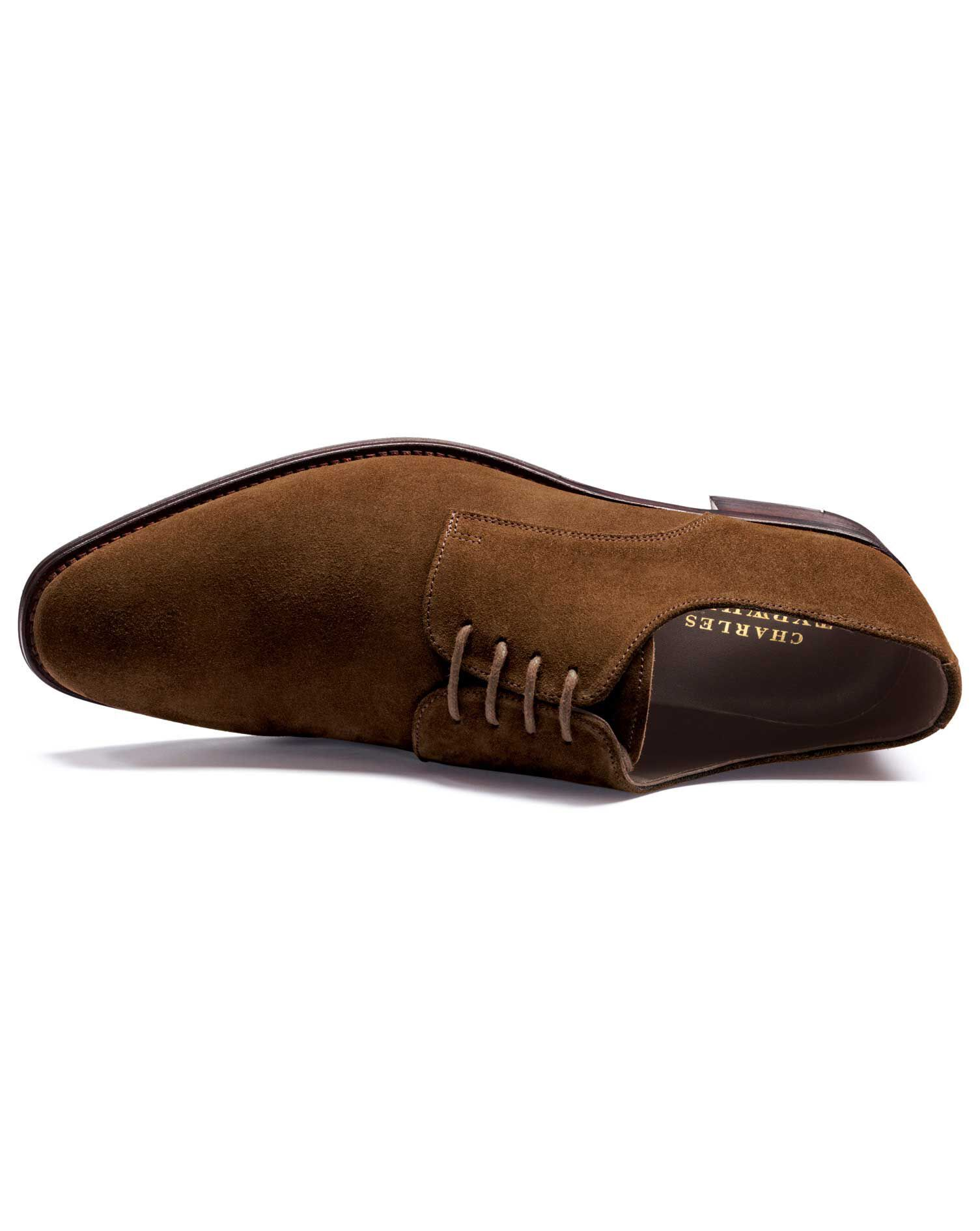 Brown Grosvenor Suede Derby Shoes Size 10 R by Charles Tyrwhitt
