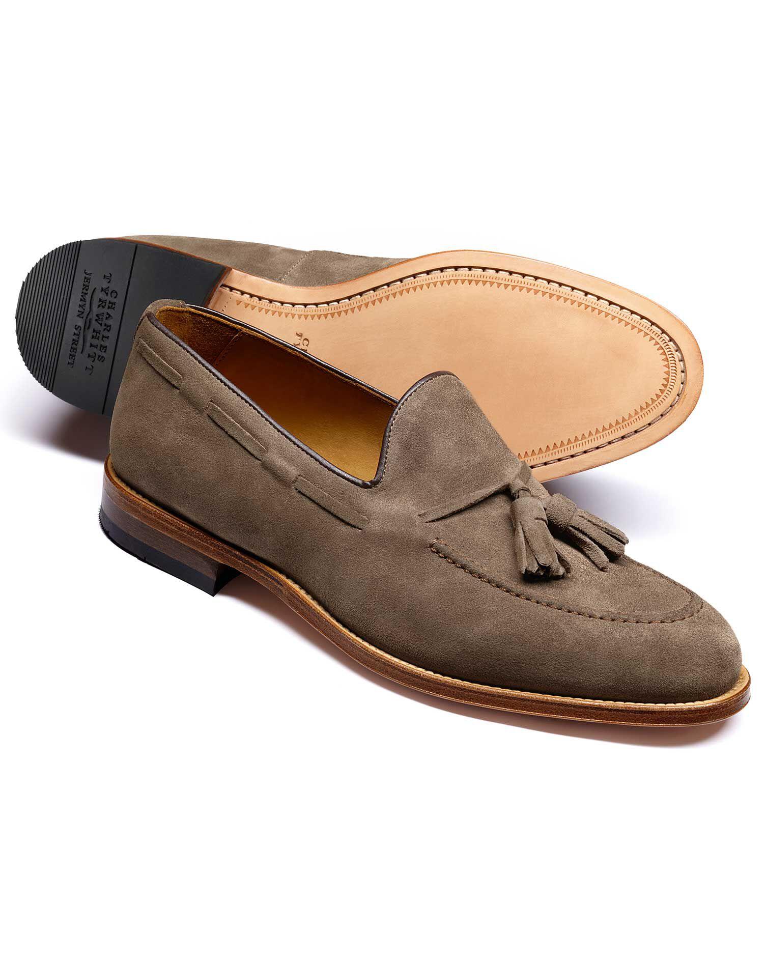 Beige Keybridge Suede Tassel Loafers Size 8 by Charles Tyrwhitt
