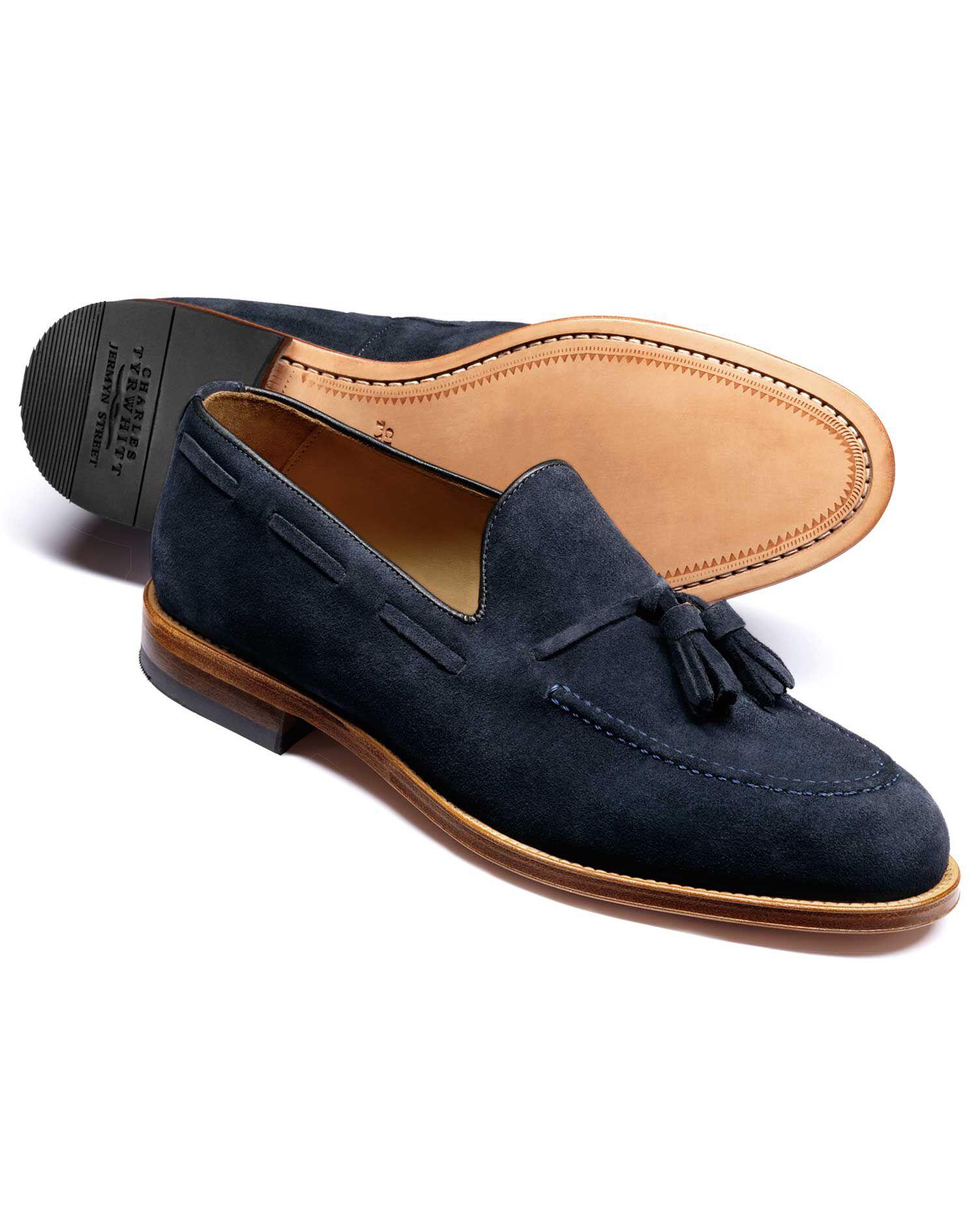 Blue Keybridge Suede Tassel Loafers Size 6 by Charles Tyrwhitt
