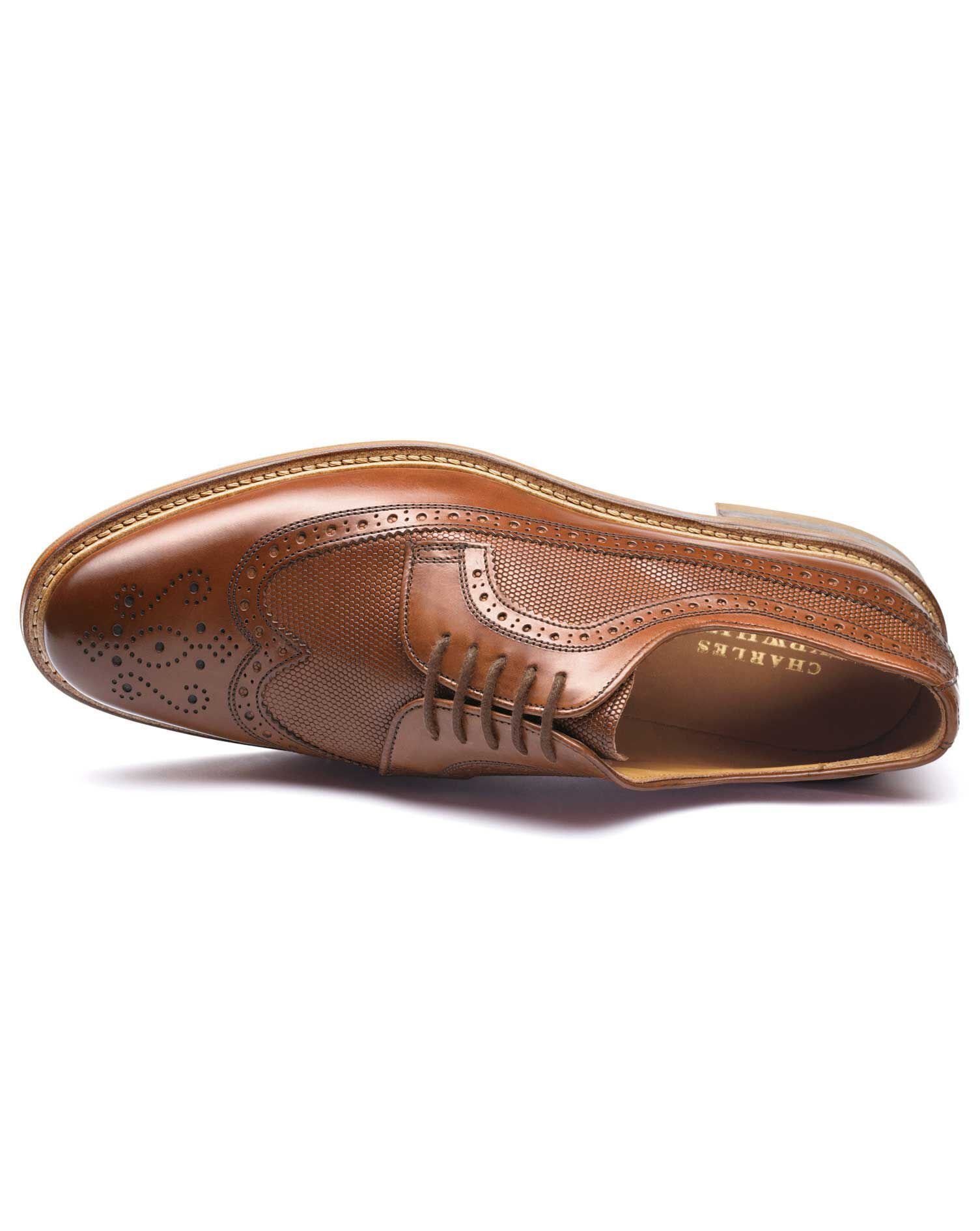 Tan Eastcott Wing Tip Brogue Derby Shoes Size 7.5 by Charles Tyrwhitt