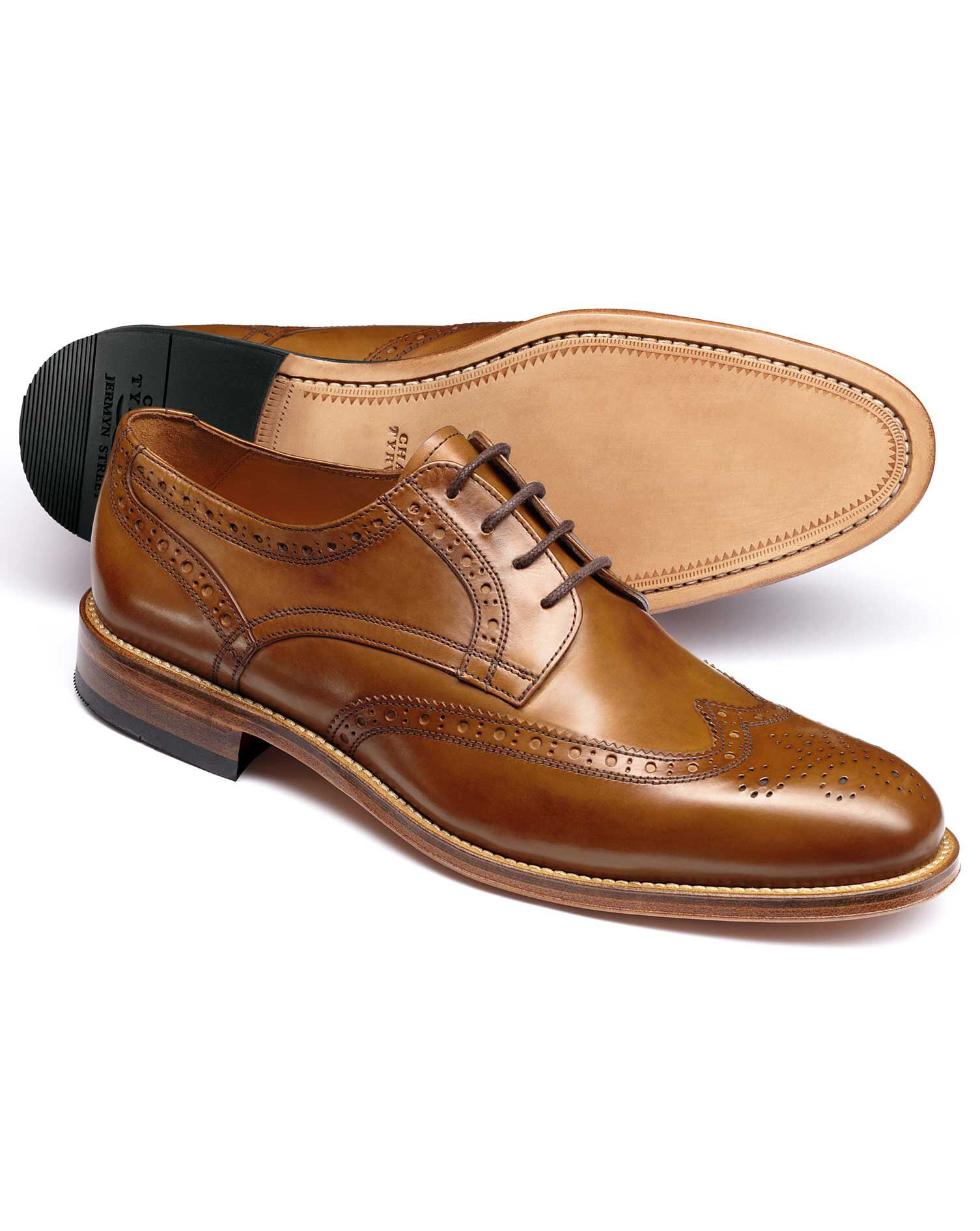 Tan Medlyn Wing Tip Brogue Derby Shoes Size 10.5 R by Charles Tyrwhitt
