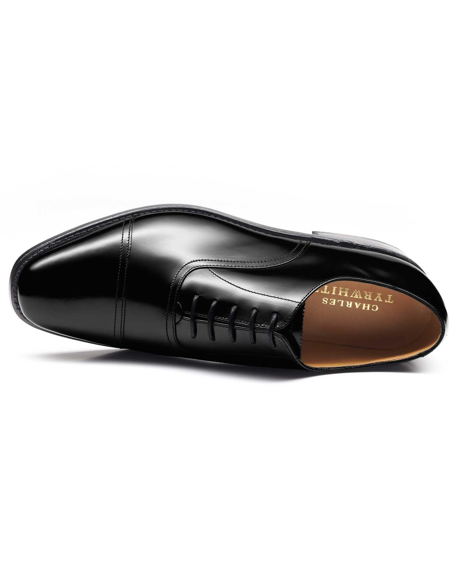 Black Bennett Toe Cap Oxford Shoes Size 10 R by Charles Tyrwhitt