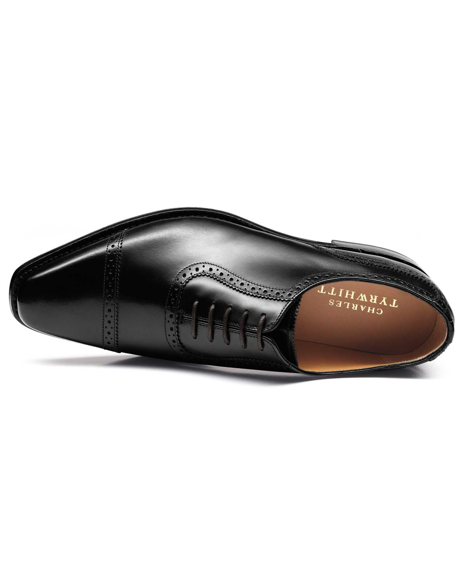 Black Baxter Toe Cap Brogue Oxford Shoes Size 6.5 R by Charles Tyrwhitt