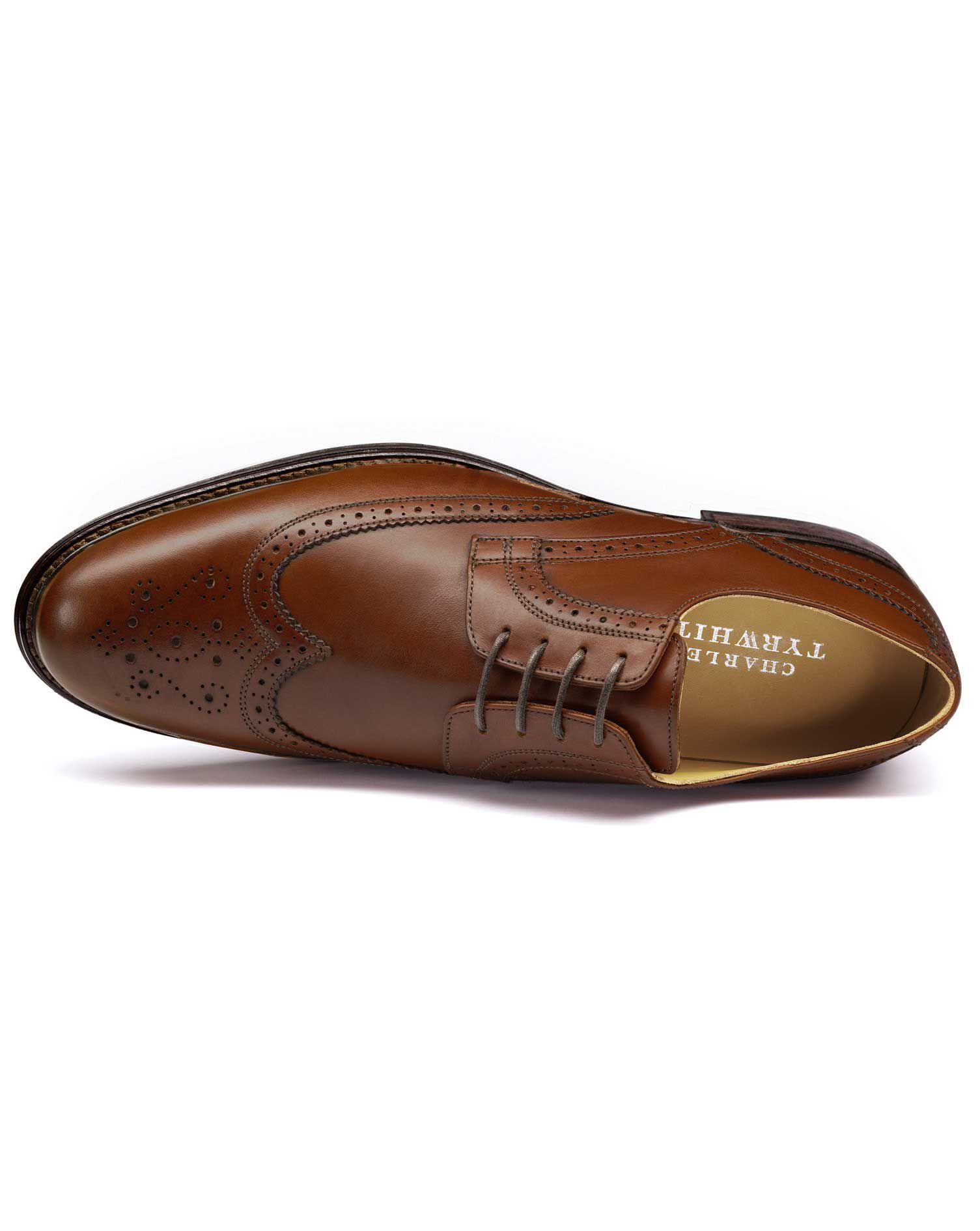 Tan Halton Wing Tip Brogue Derby Shoes Size 9.5 R by Charles Tyrwhitt