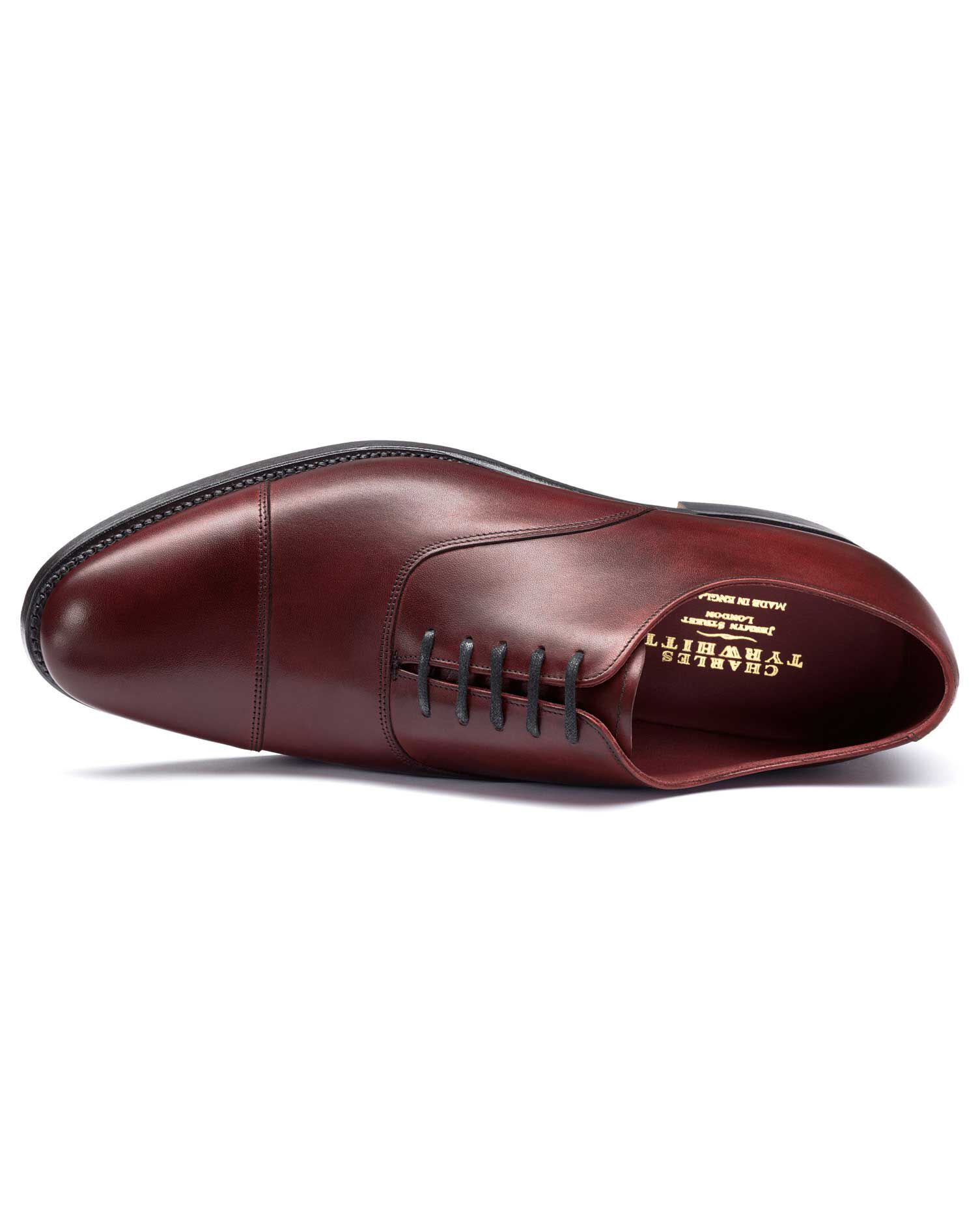 Burgundy Heathcote Calf Leather Toe Cap Oxford Shoes Size 9 by Charles Tyrwhitt