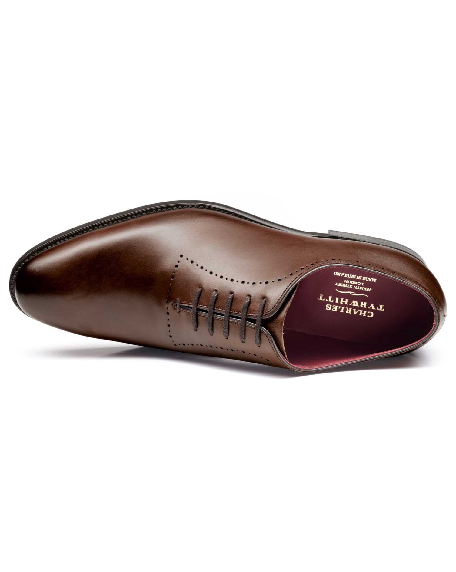 Brown Richmond Calf Leather Wholecut Shoes Size 9 by Charles Tyrwhitt
