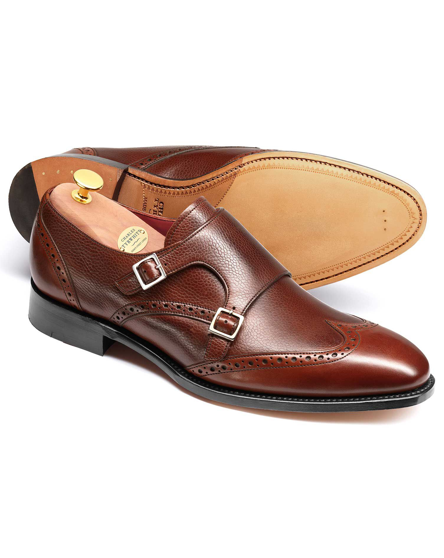 Brown Edmonton Calf Leather Toe Cap Brogue Monk Shoes Size 6 by Charles Tyrwhitt