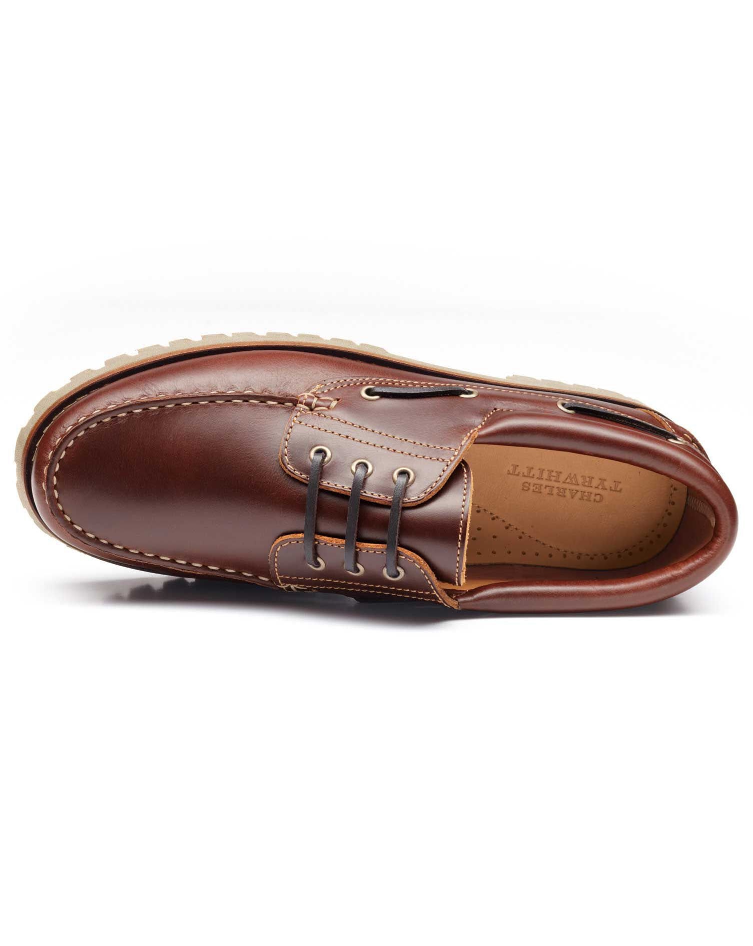 Brown Stamford Boat Shoes Size 9.5 by Charles Tyrwhitt