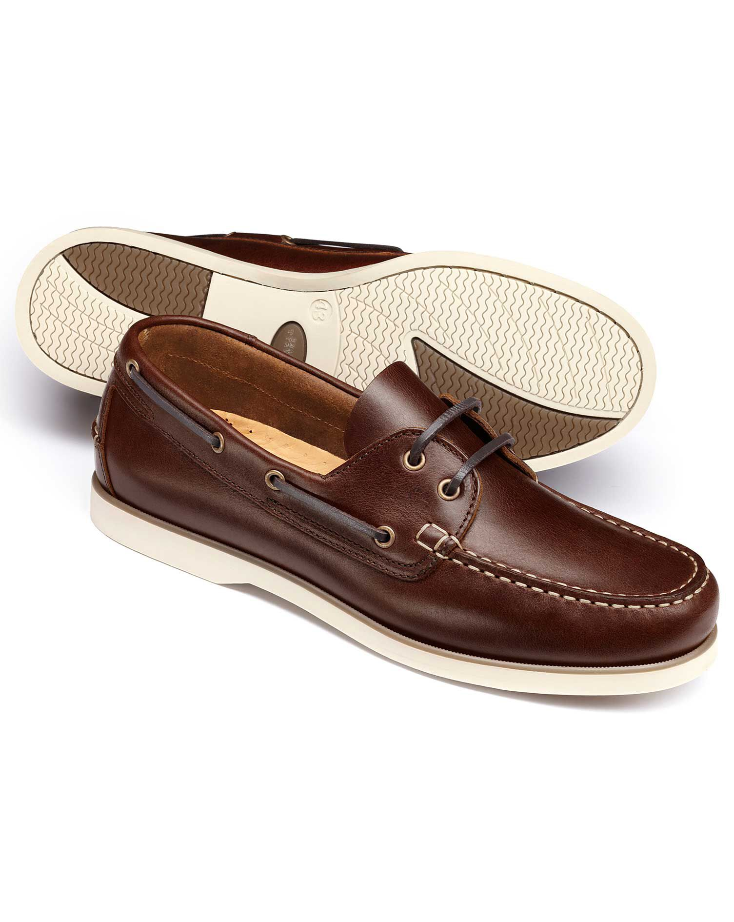 Brown Fowey Boat Shoes Size 12 R by Charles Tyrwhitt