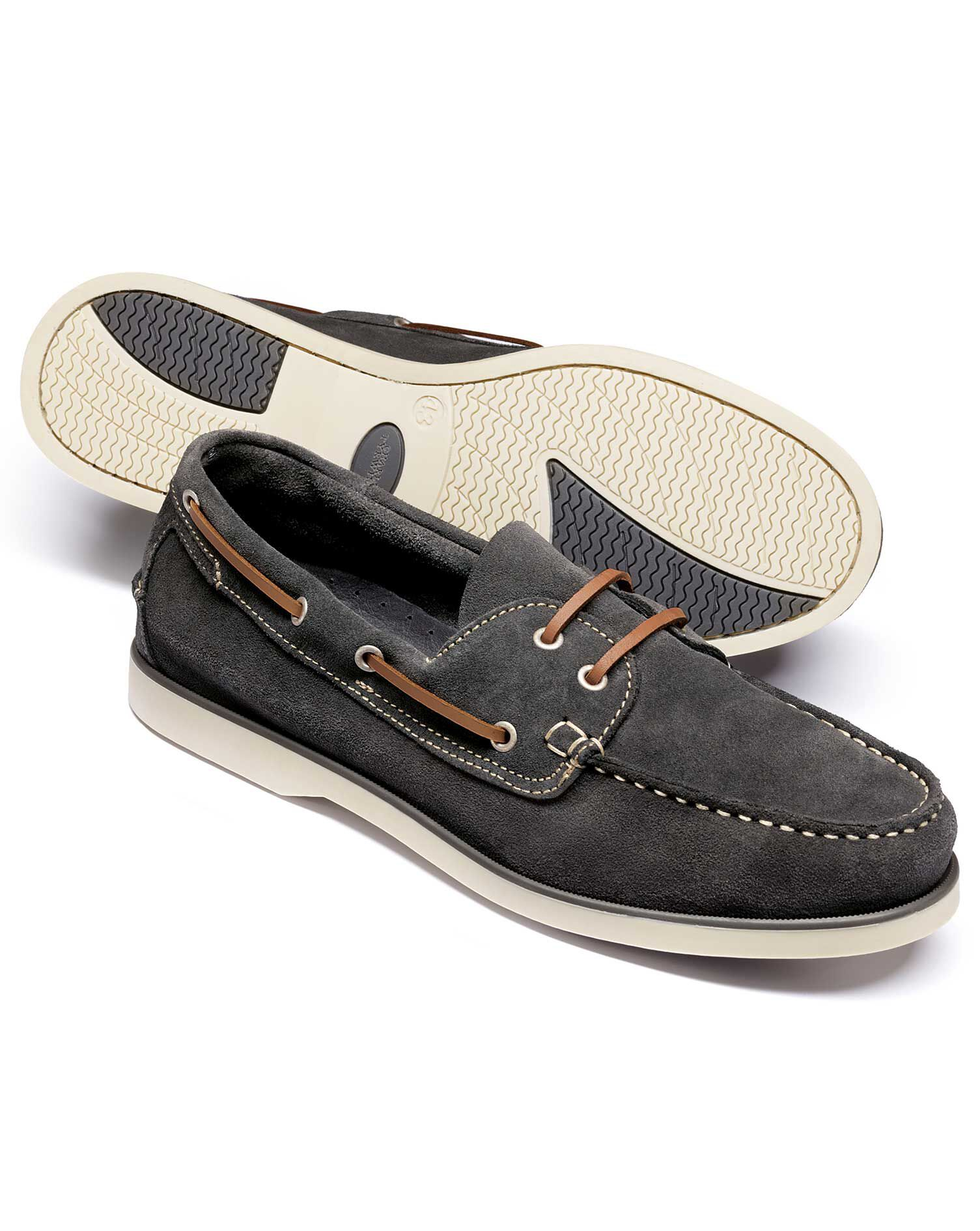 Grey Fowey Suede Boat Shoes Size 6 R by Charles Tyrwhitt