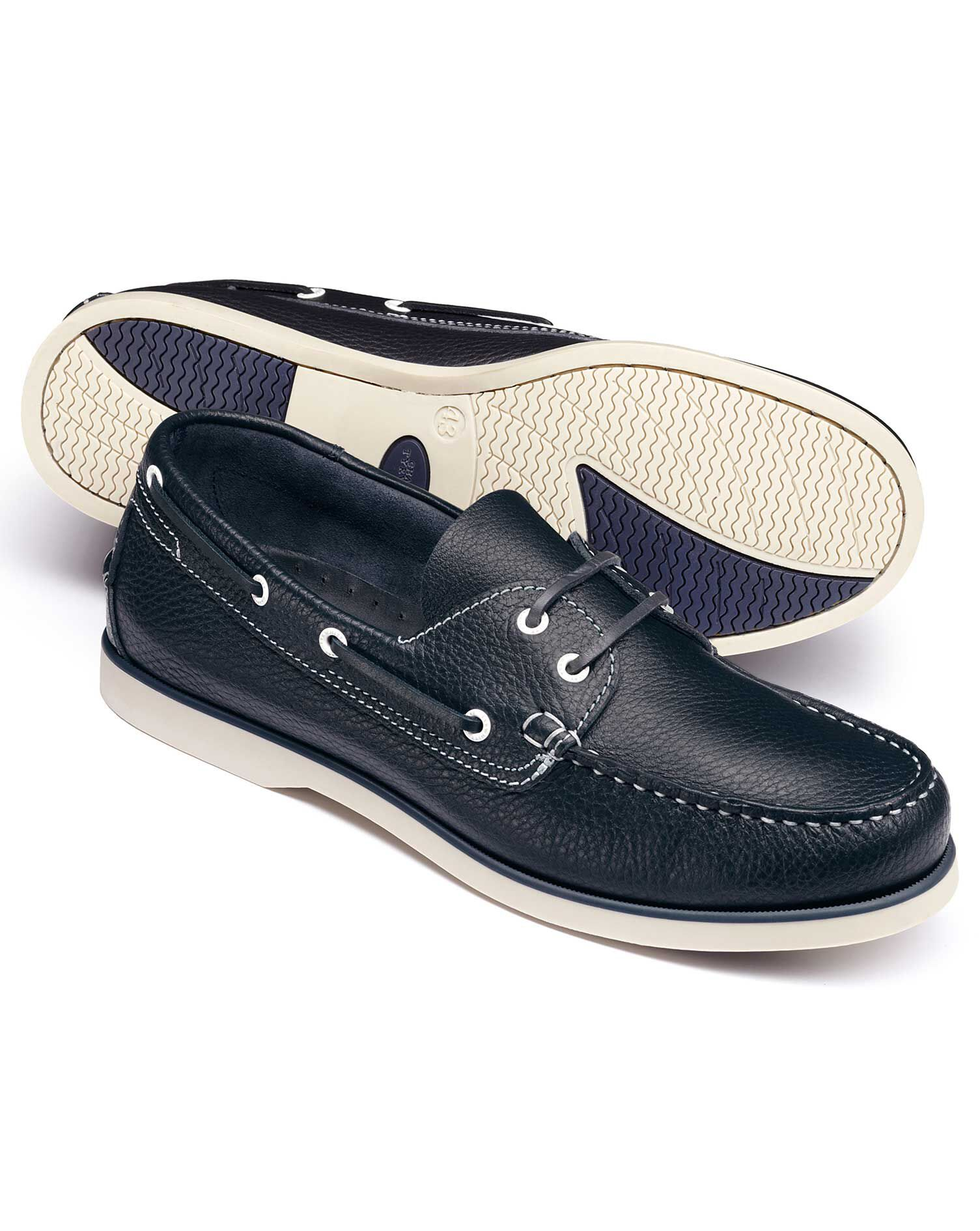 Navy Fowey Boat Shoes Size 10 R by Charles Tyrwhitt