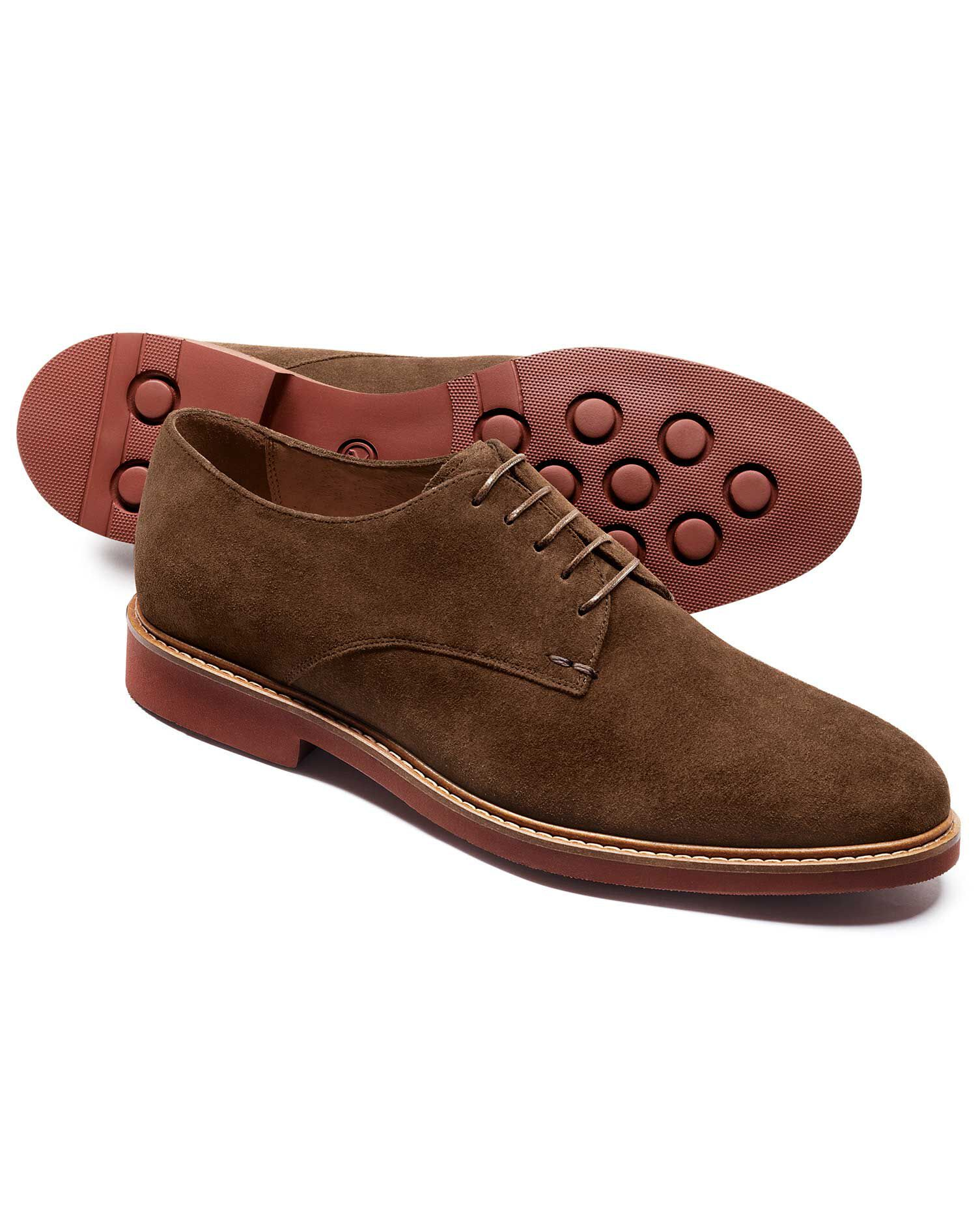 Brown Truscott Suede Plain Derby Shoe Size 10 R by Charles Tyrwhitt