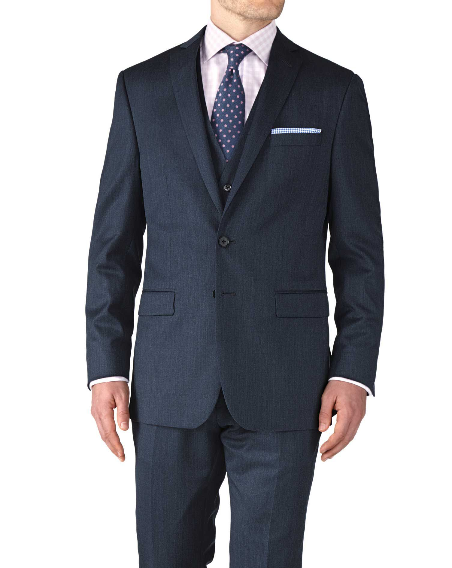 Airforce Blue Slim Fit Twill Business Suit Wool Jacket Size 46 Regular by Charles Tyrwhitt