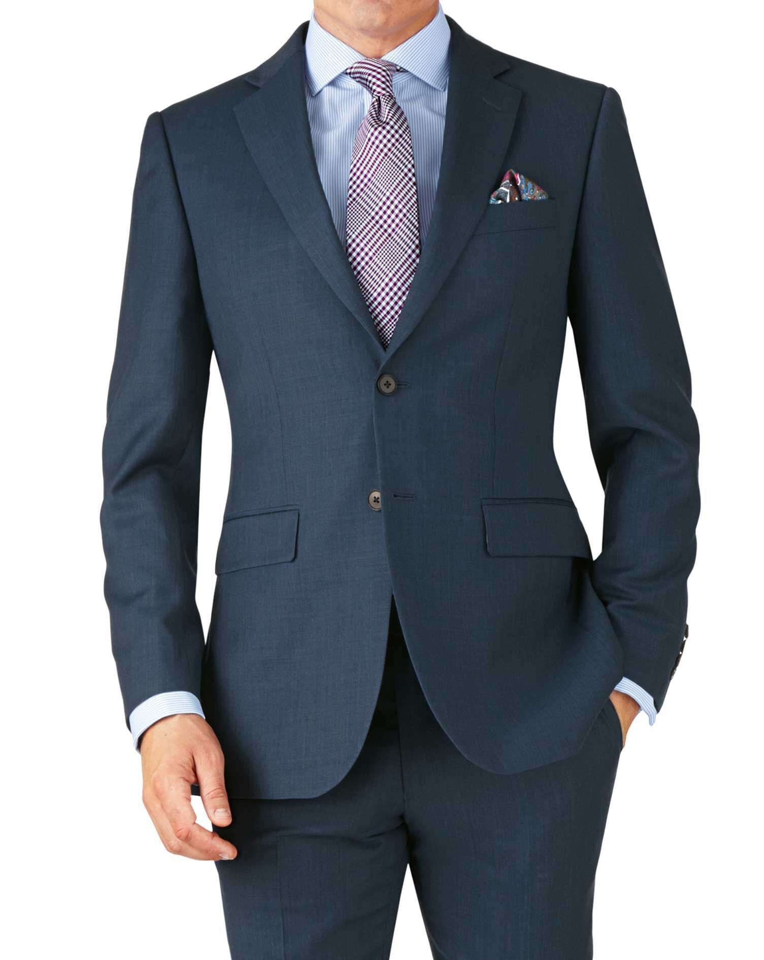 Blue Slim Fit Twill Business Suit Wool Jacket Size 42 Regular by Charles Tyrwhitt