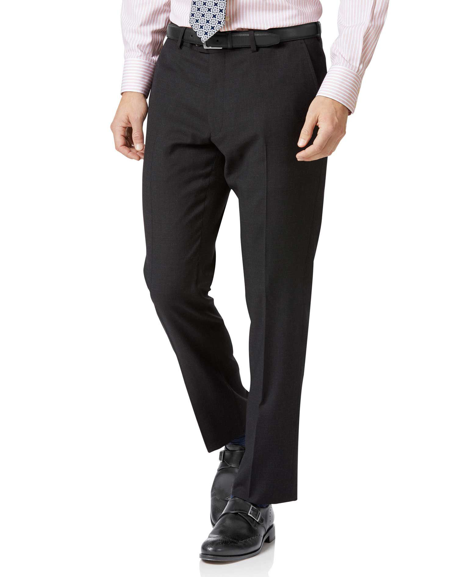 Charcoal Slim Fit Twill Business Suit Trousers Size W30 L32 by Charles Tyrwhitt