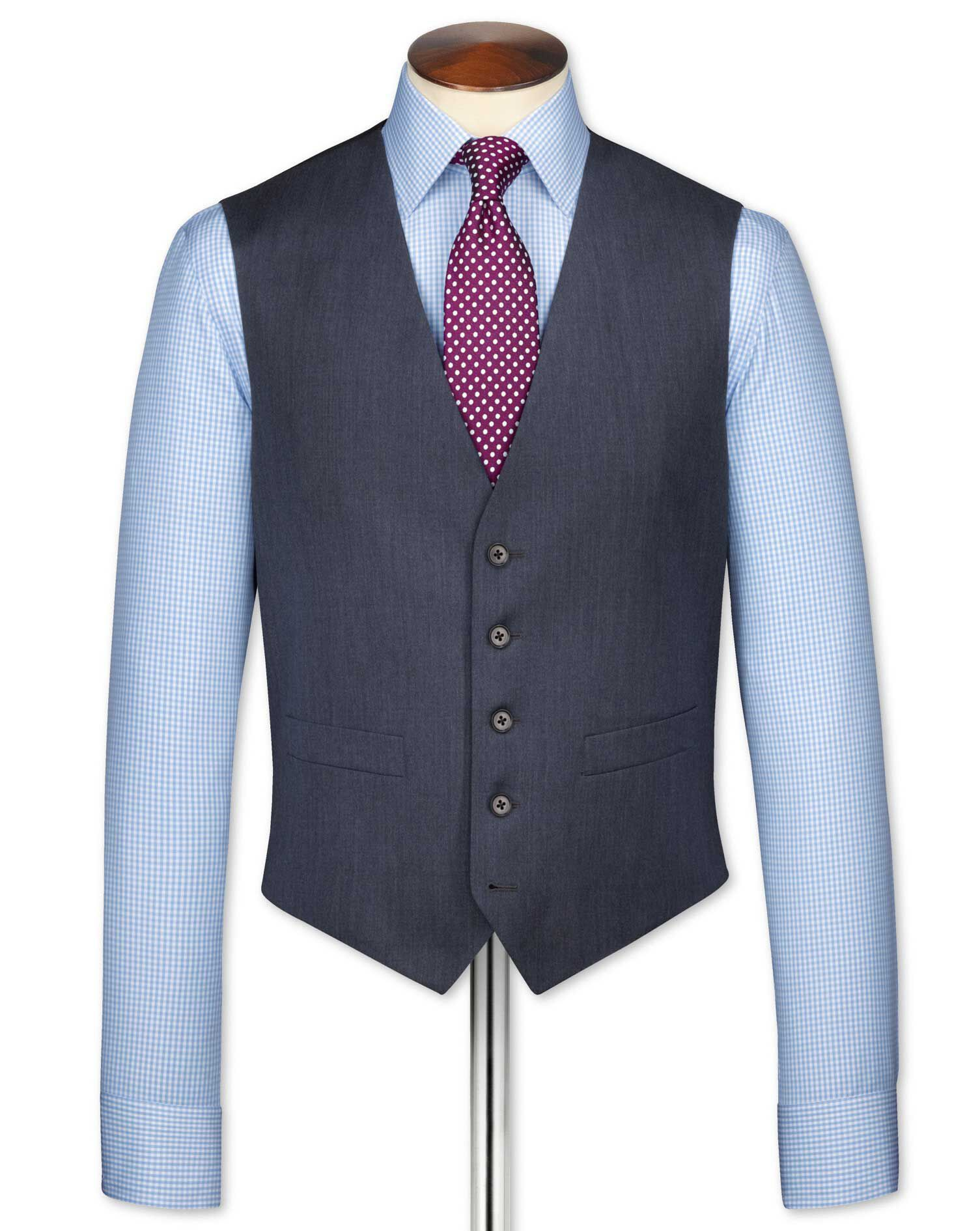 Airforce Blue Twill Business Suit Wool Waistcoat Size w38 by Charles Tyrwhitt
