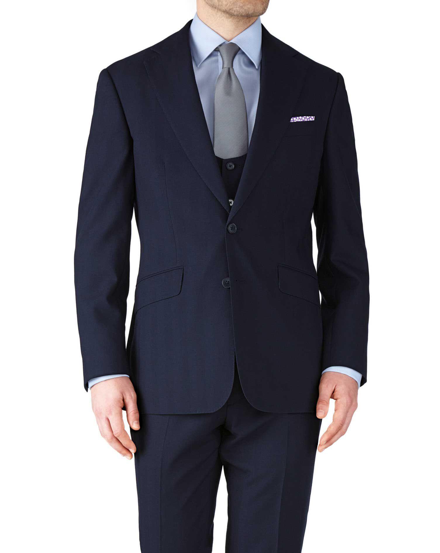 Navy Slim Fit Herringbone Business Suit Wool Jacket Size 42 by Charles Tyrwhitt