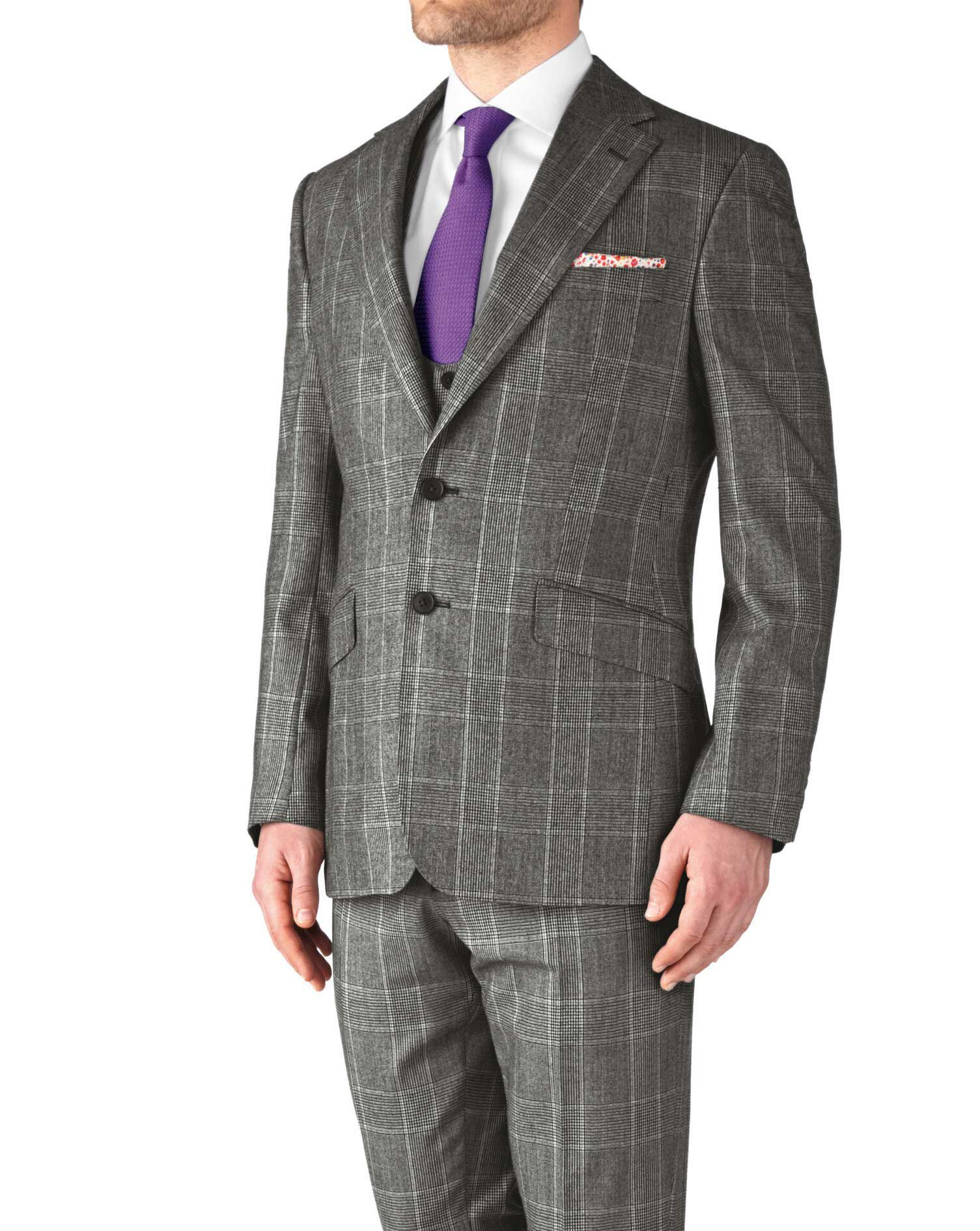 Grey Slim Fit Check Business Suit Wool Jacket Size 38 Regular by Charles Tyrwhitt