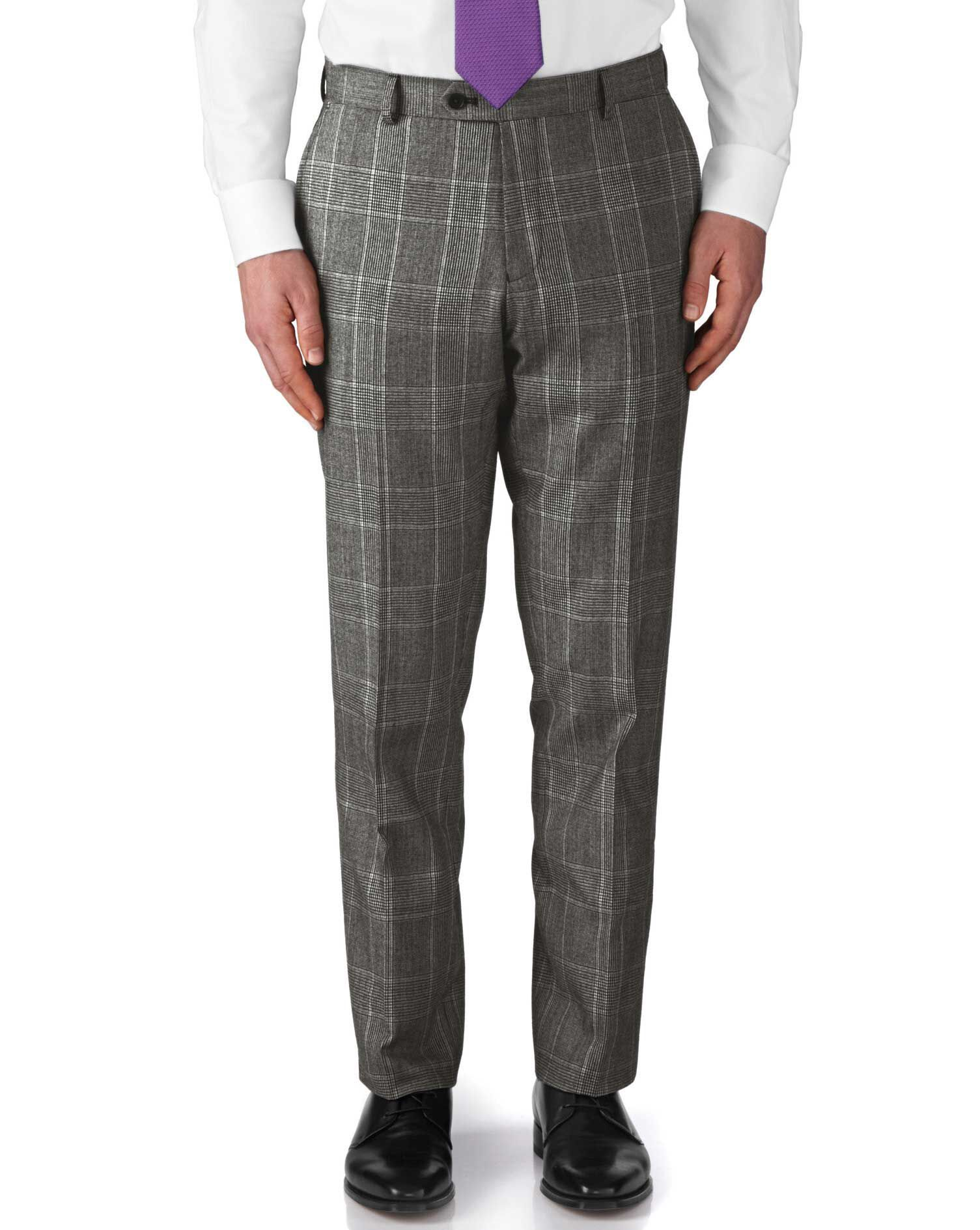 Grey Slim Fit Check Business Suit Trousers Size W34 L32 by Charles Tyrwhitt