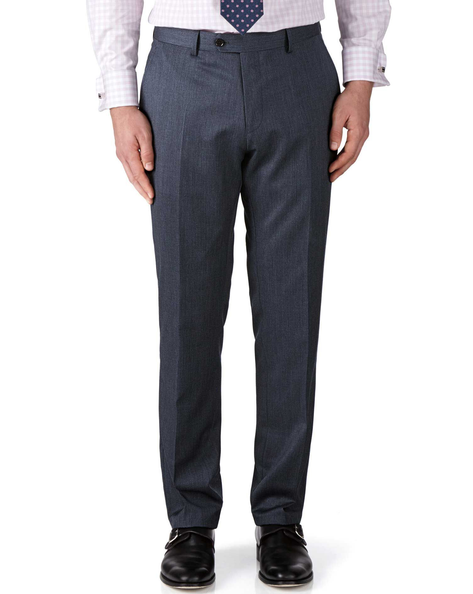 Airforce Blue Classic Fit Twill Business Suit Trousers Size W36 L32 by Charles Tyrwhitt