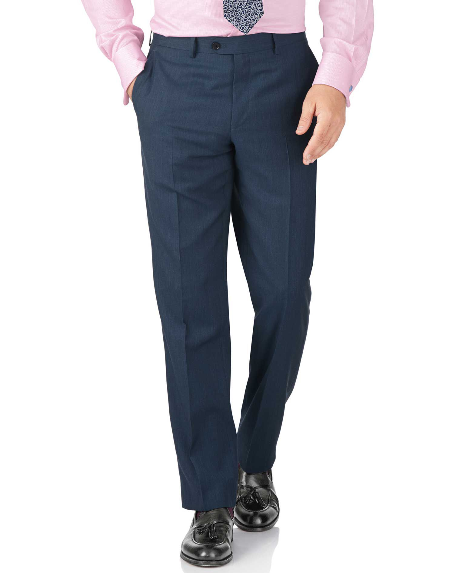Blue Classic Fit Twill Business Suit Trouser Size W32 L34 by Charles Tyrwhitt