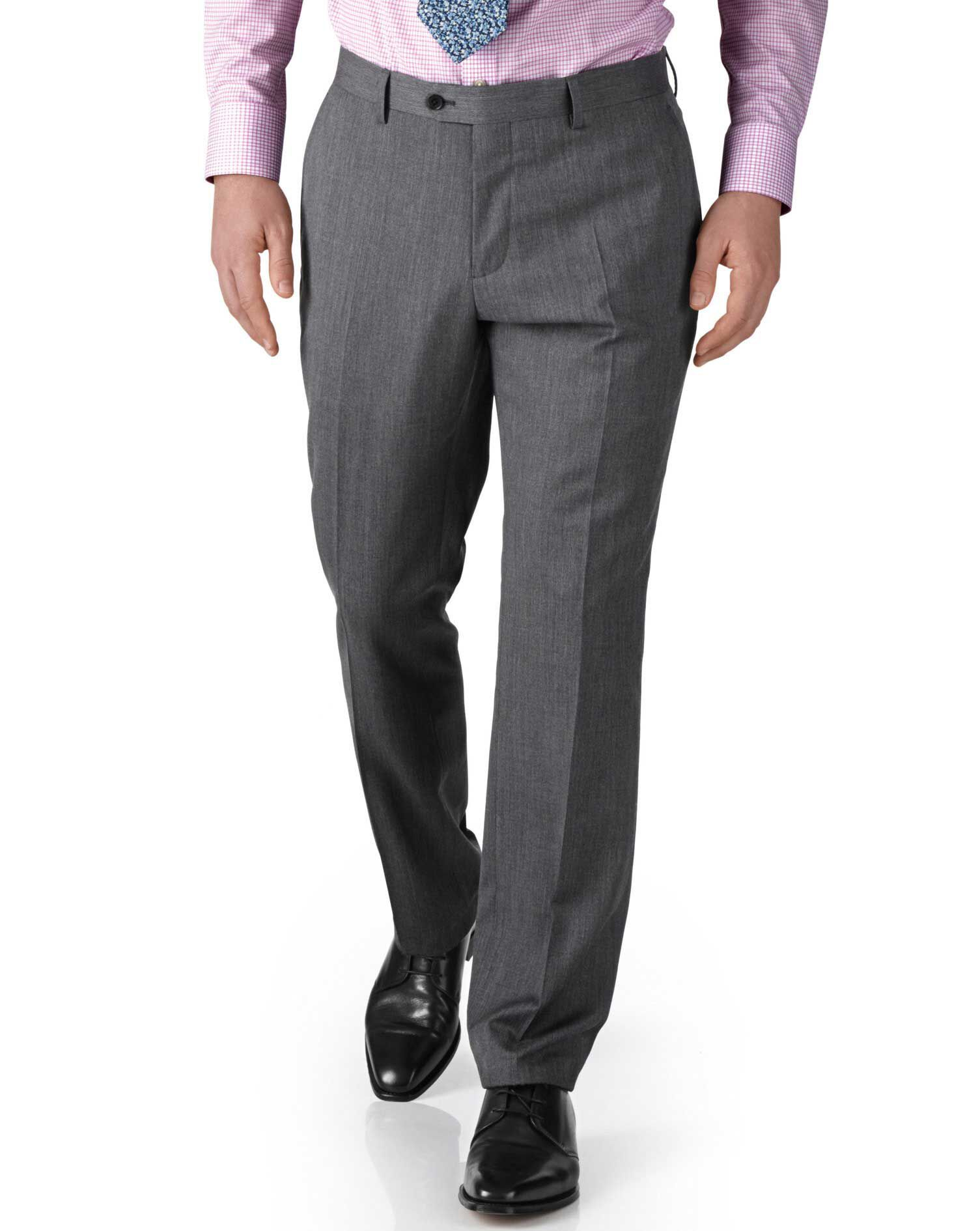 Silver Classic Fit Twill Business Suit Trousers Size W30 L38 by Charles Tyrwhitt
