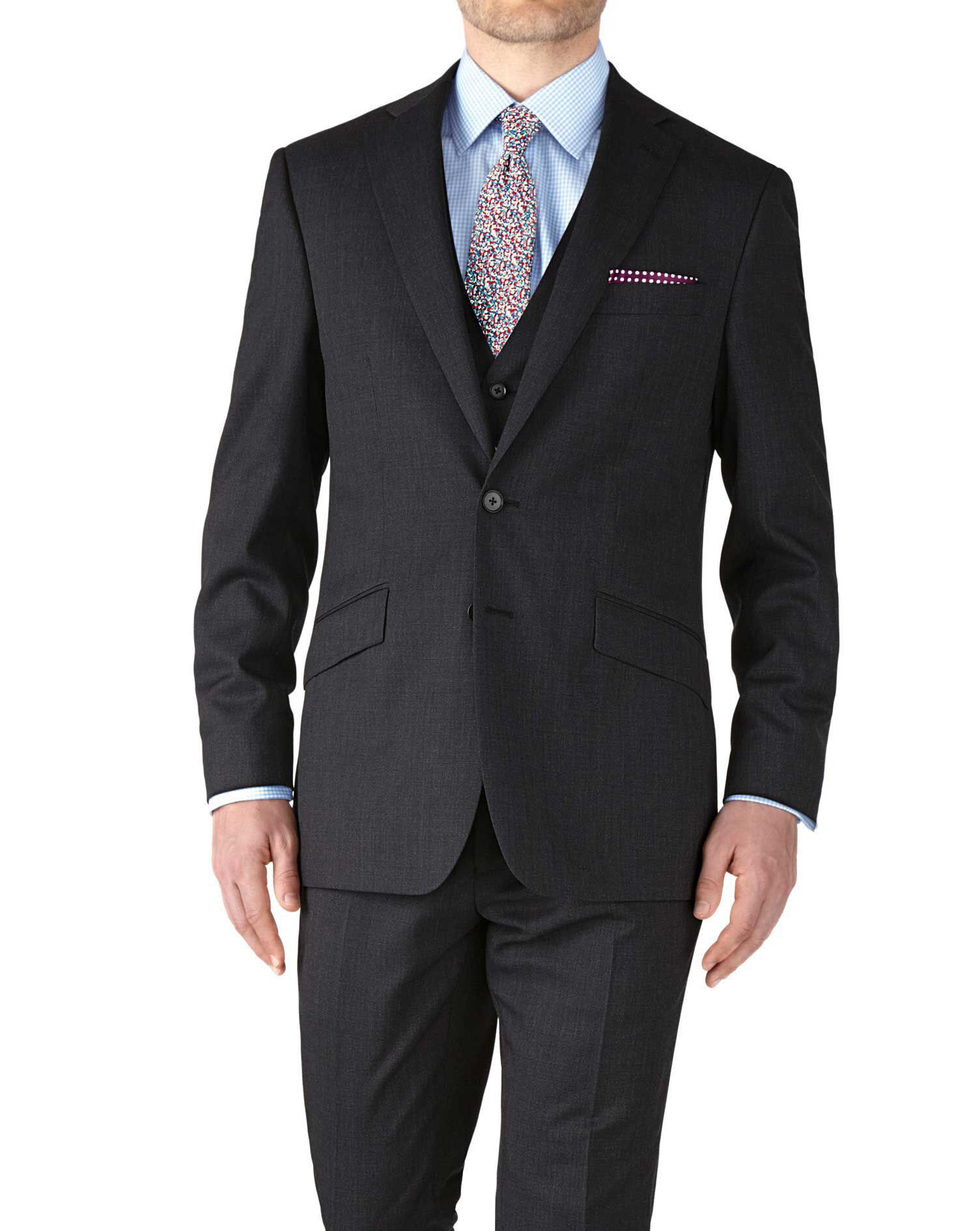 Charcoal Slim Fit End-On-End Business Suit Wool Jacket Size 42 by Charles Tyrwhitt