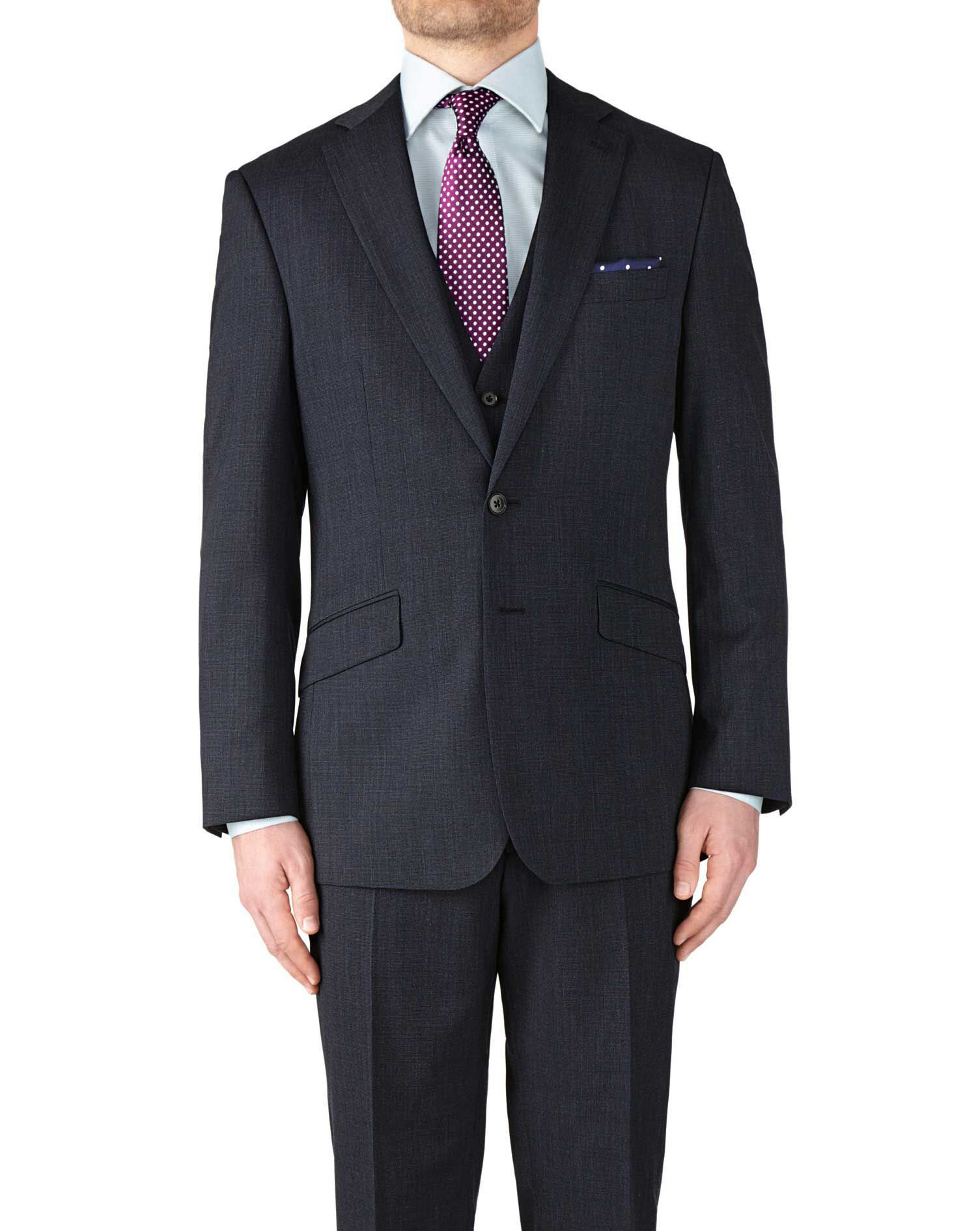 Navy Slim Fit End-On-End Business Suit Wool Jacket Size 36 Short by Charles Tyrwhitt