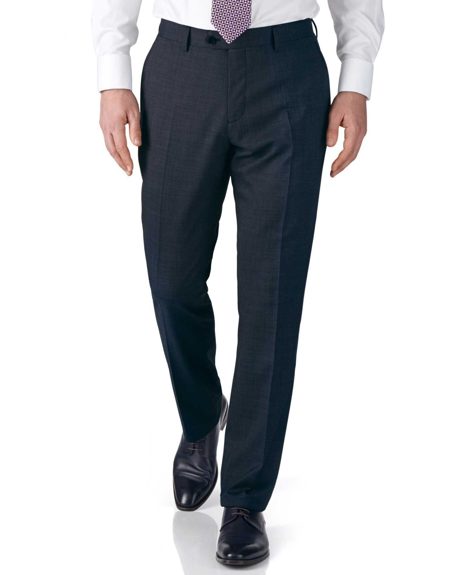 Airforce Blue Slim Fit End-On-End Business Suit Trousers Size W30 L38 by Charles Tyrwhitt