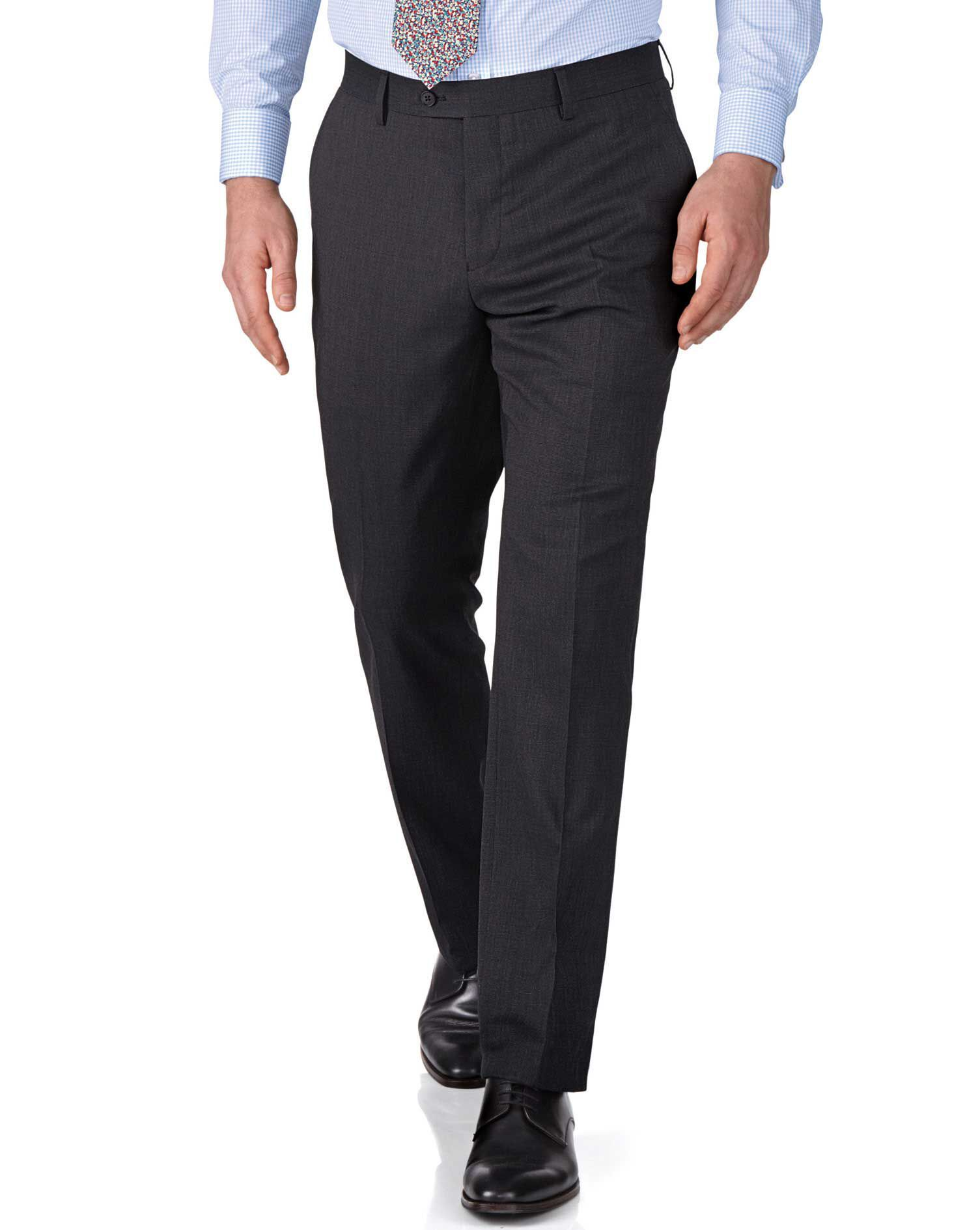Charcoal Slim Fit End-On-End Business Suit Trousers Size W40 L34 by Charles Tyrwhitt