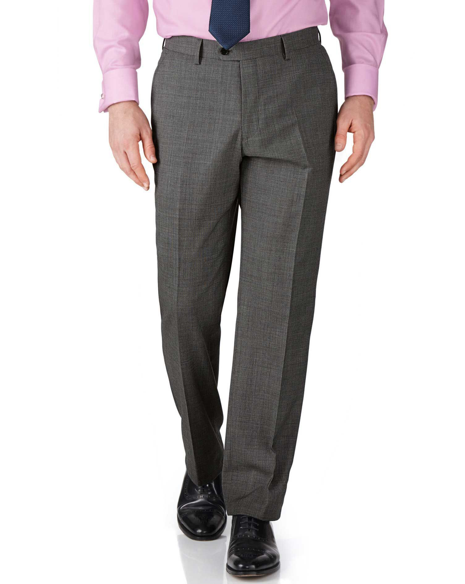 Grey Slim Fit End-On-End Business Suit Trousers Size W34 L32 by Charles Tyrwhitt