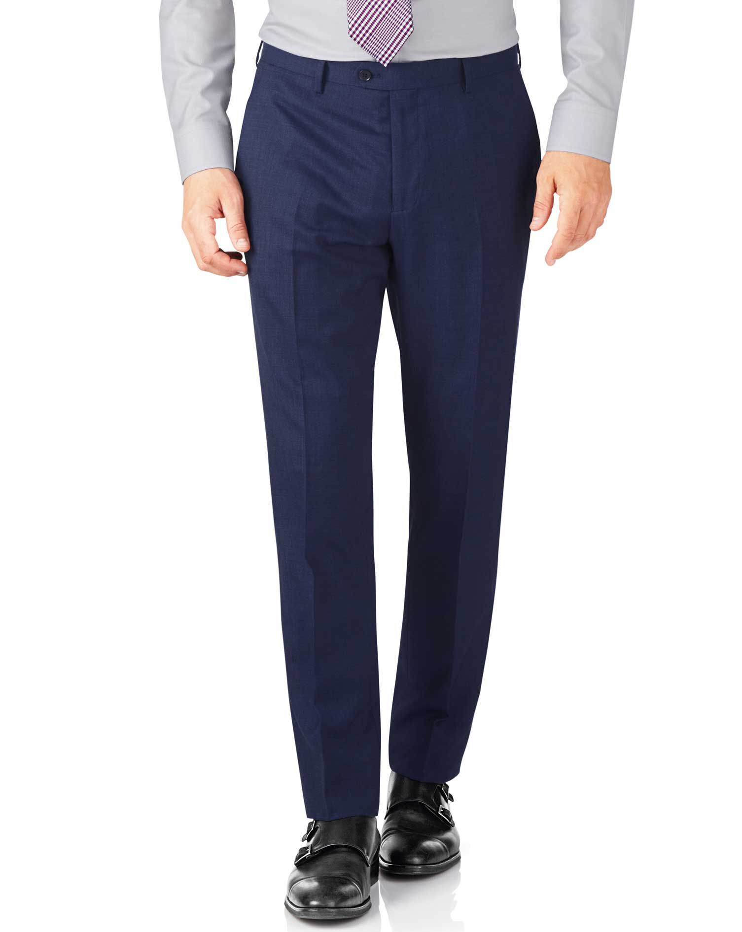 Indigo Slim Fit End-On-End Business Suit Trouser Size W38 L32 by Charles Tyrwhitt