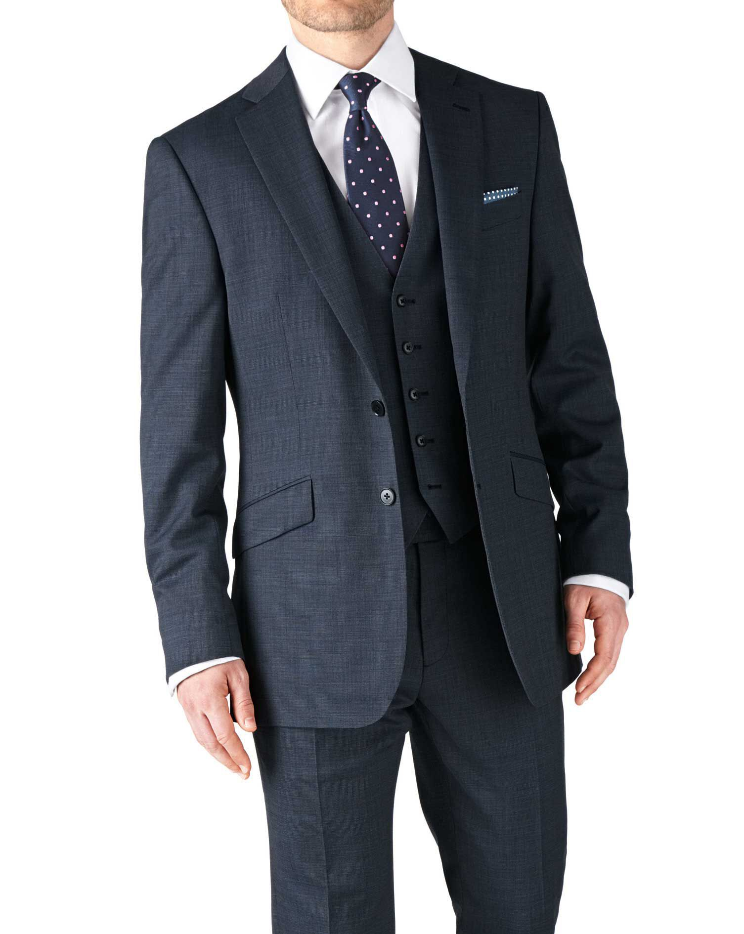 Airforce Blue Classic Fit End-On-End Business Suit Wool Jacket Size 38 by Charles Tyrwhitt