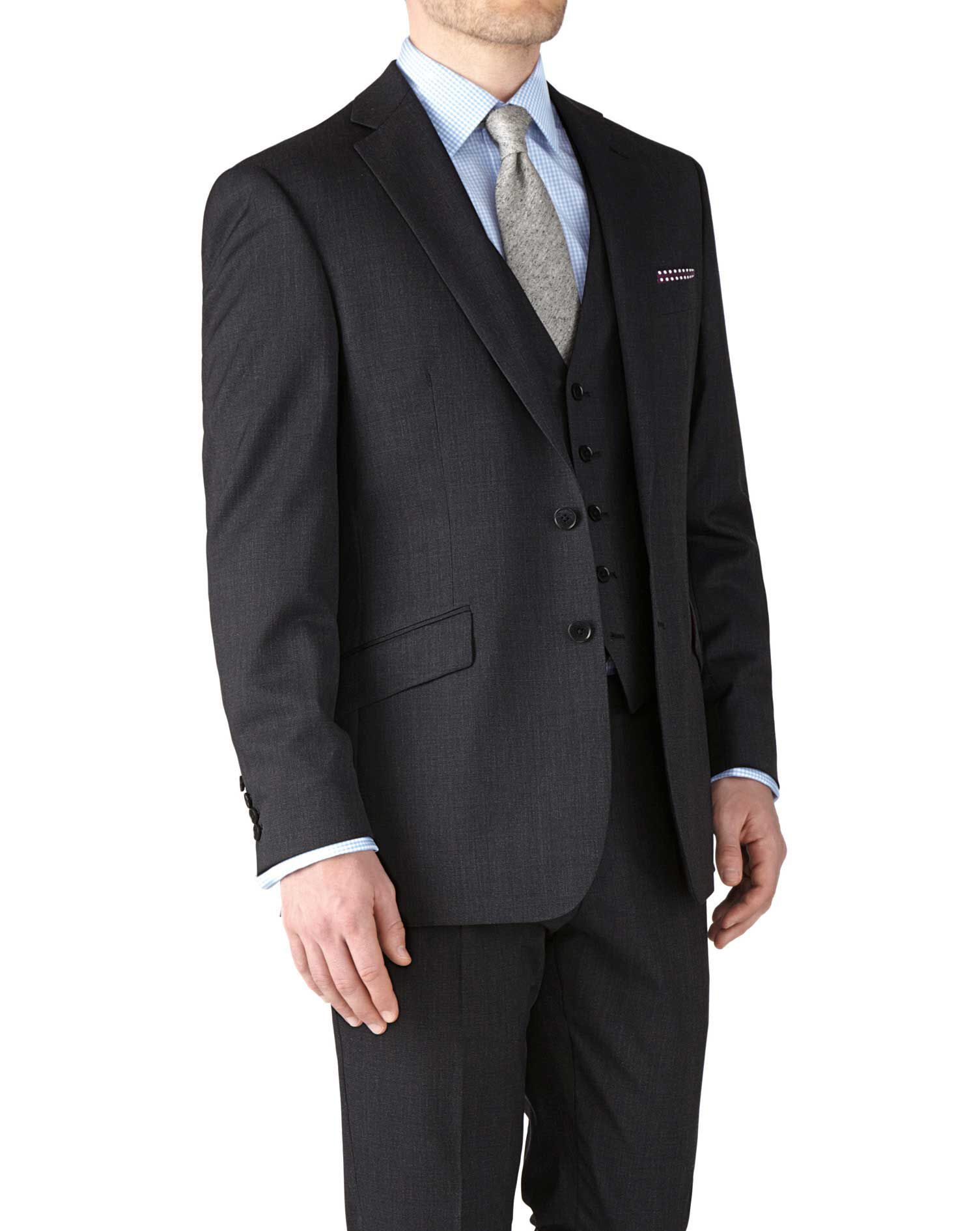 Charcoal Classic Fit End-On-End Business Suit Wool Jacket Size 42 by Charles Tyrwhitt