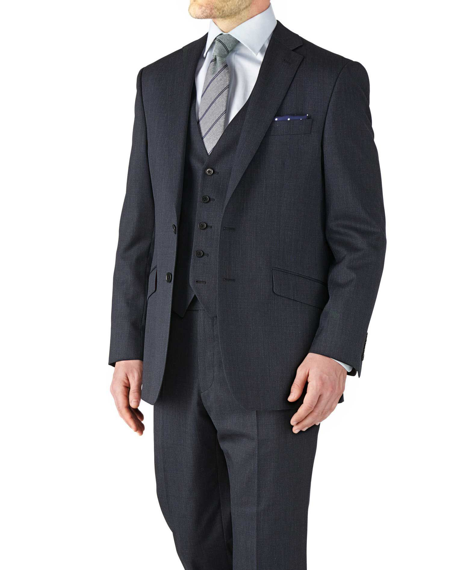 Navy Classic Fit End-On-End Business Suit Wool Jacket Size 42 by Charles Tyrwhitt