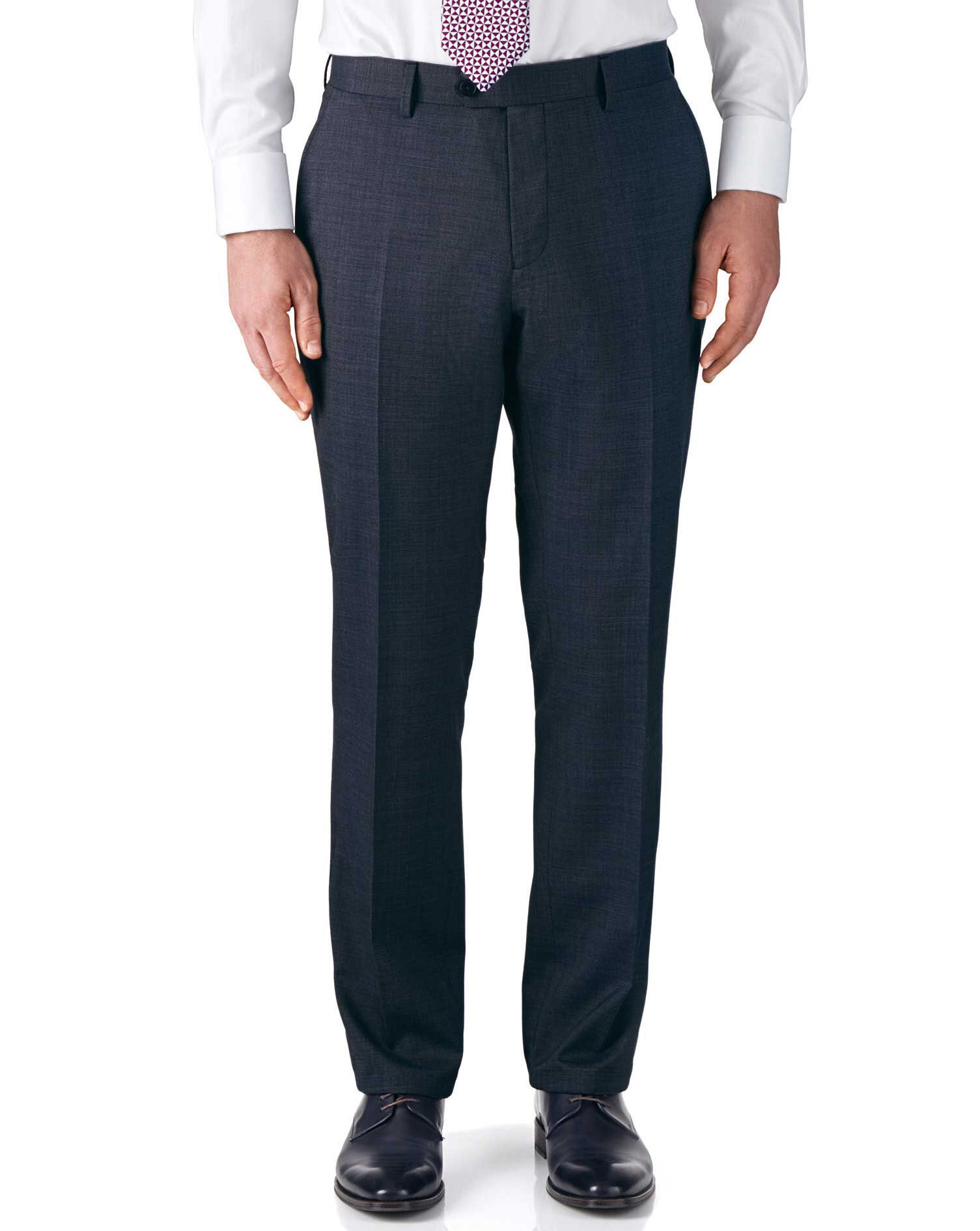 Airforce Blue Classic Fit End-On-End Business Suit Trousers Size W32 L34 by Charles Tyrwhitt