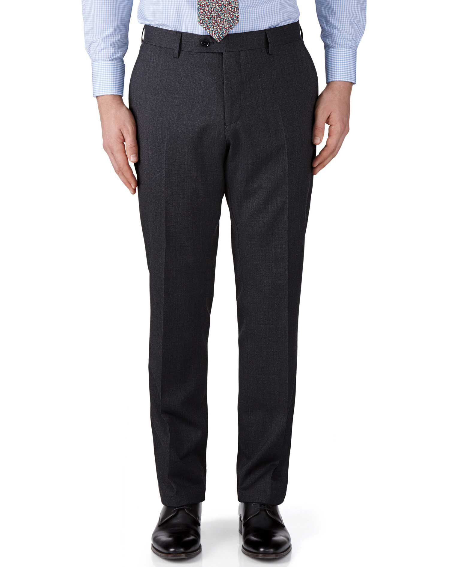 Charcoal Classic Fit End-On-End Business Suit Trousers Size W34 L34 by Charles Tyrwhitt