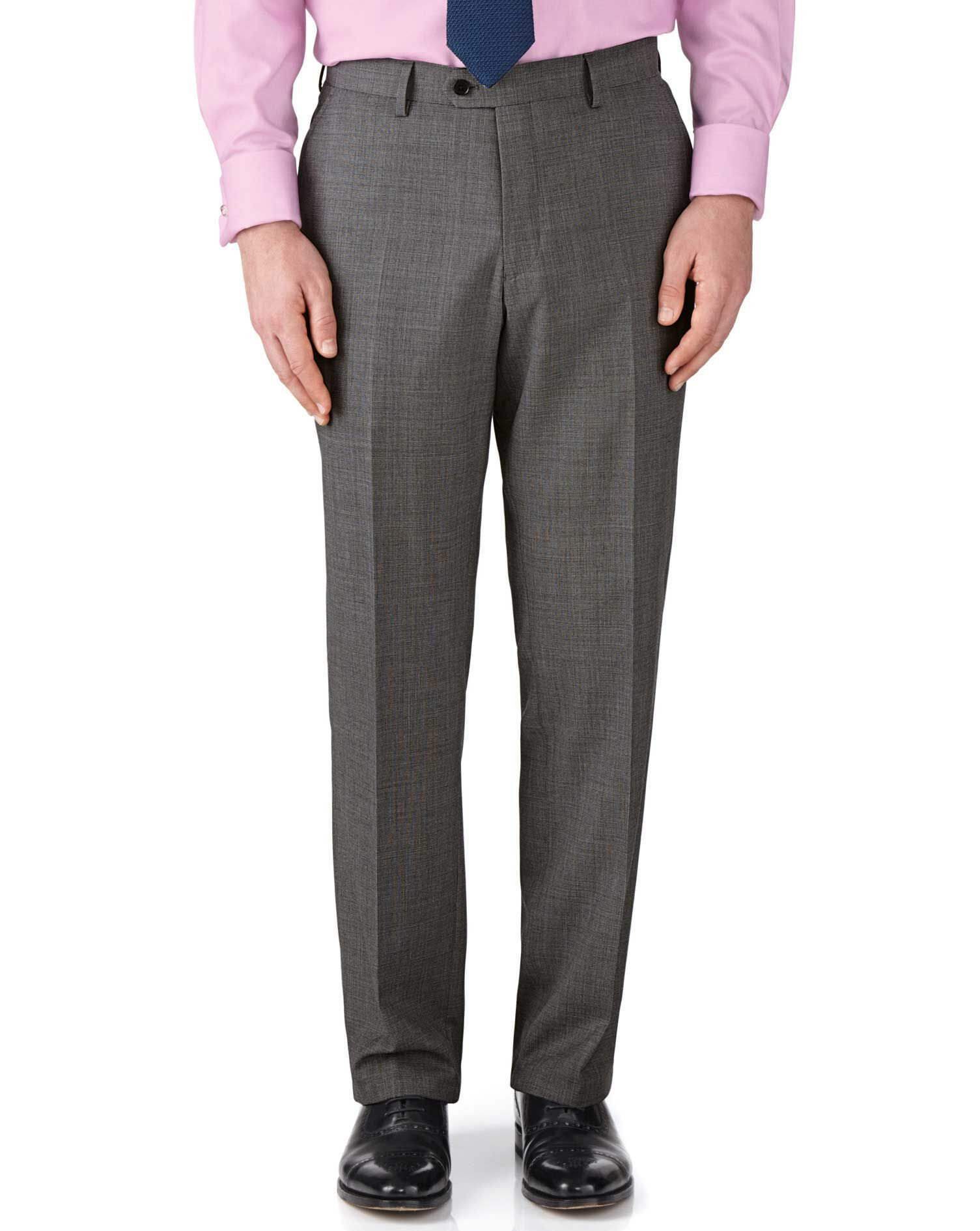 Grey Classic Fit End-On-End Business Suit Trousers Size W32 L38 by Charles Tyrwhitt