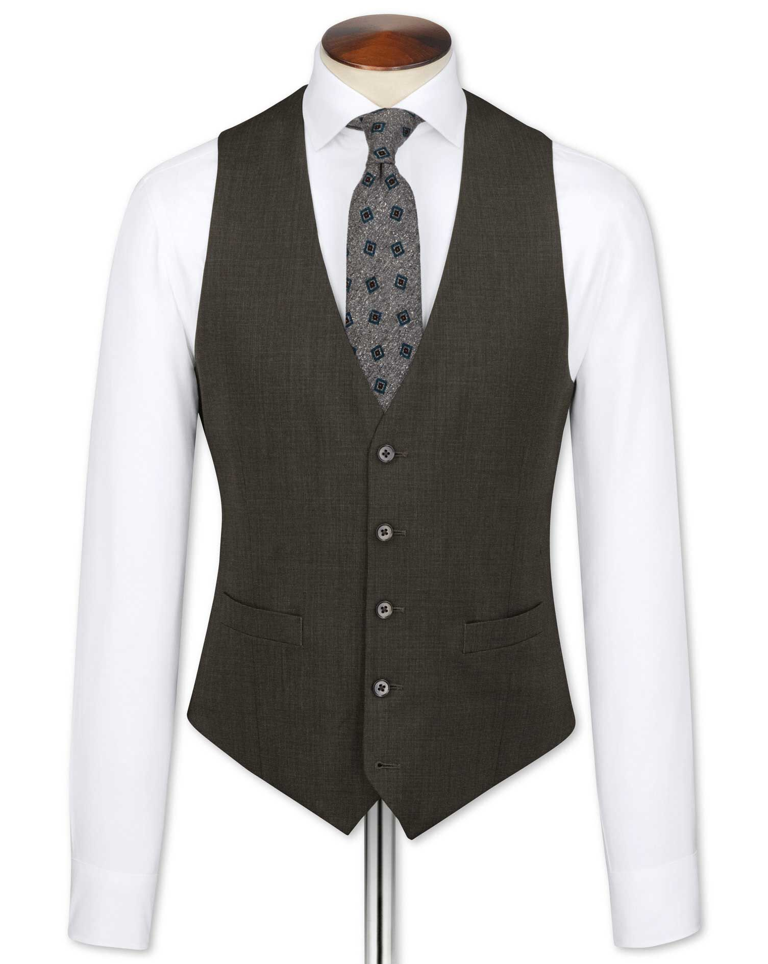 Brown End-On-End Business Suit Wool Waistcoat Size w42 by Charles Tyrwhitt